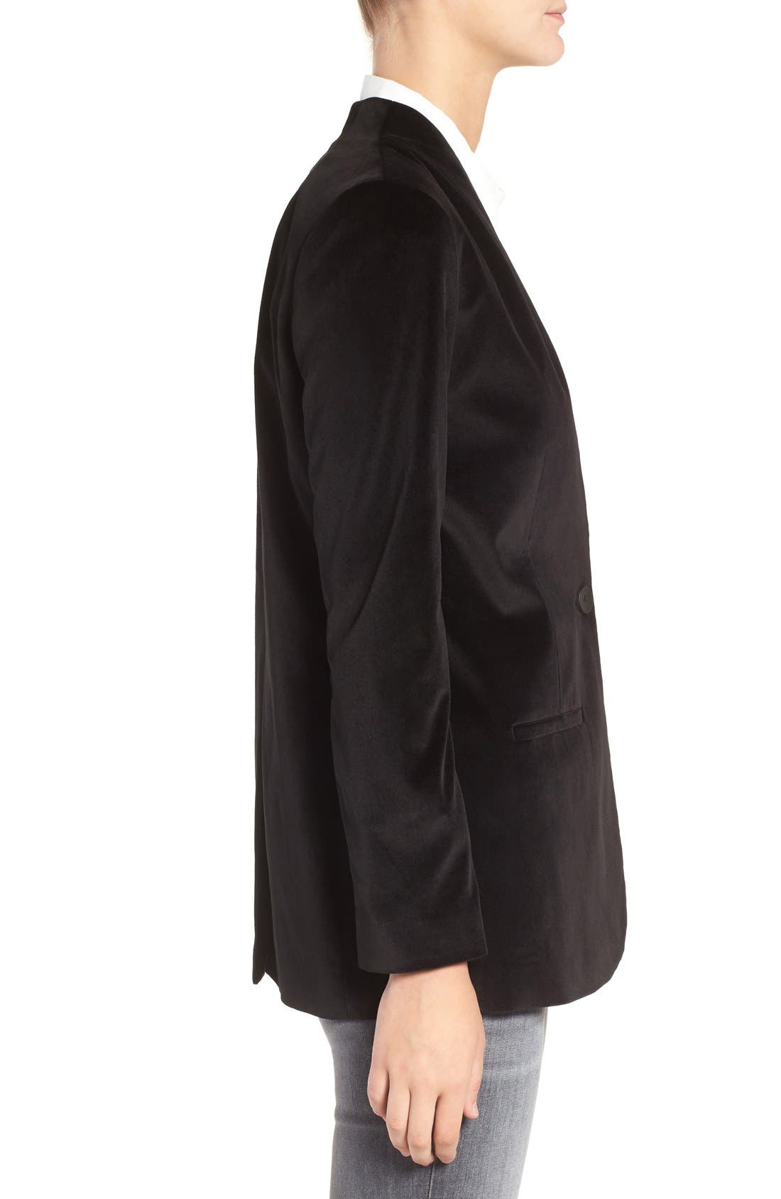 Lauren Velvet Blazer,                             Alternate thumbnail 3, color,                             True Black