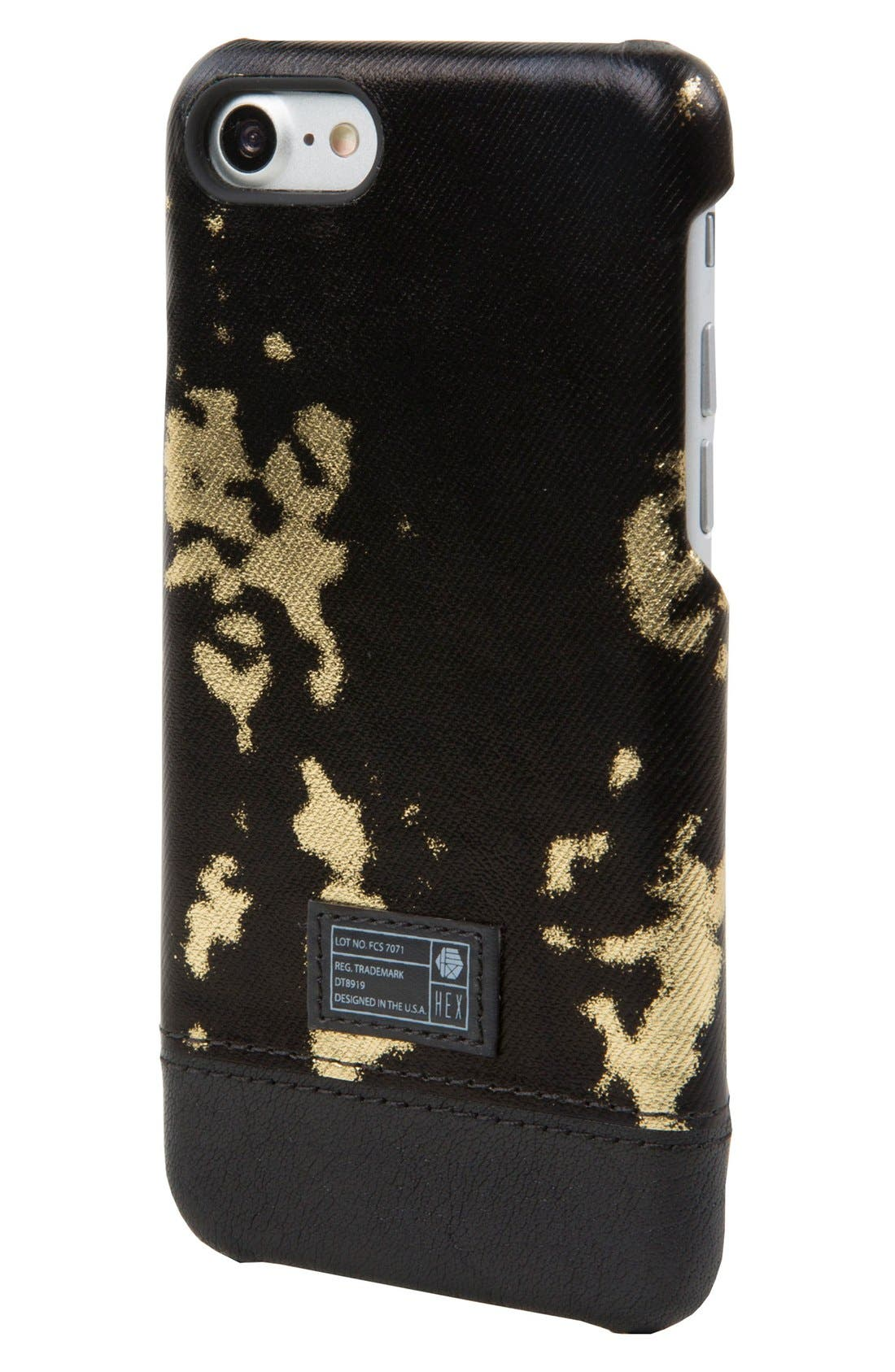 Focus iPhone 7/8 Case,                             Main thumbnail 1, color,                             Black/ Gold Leather