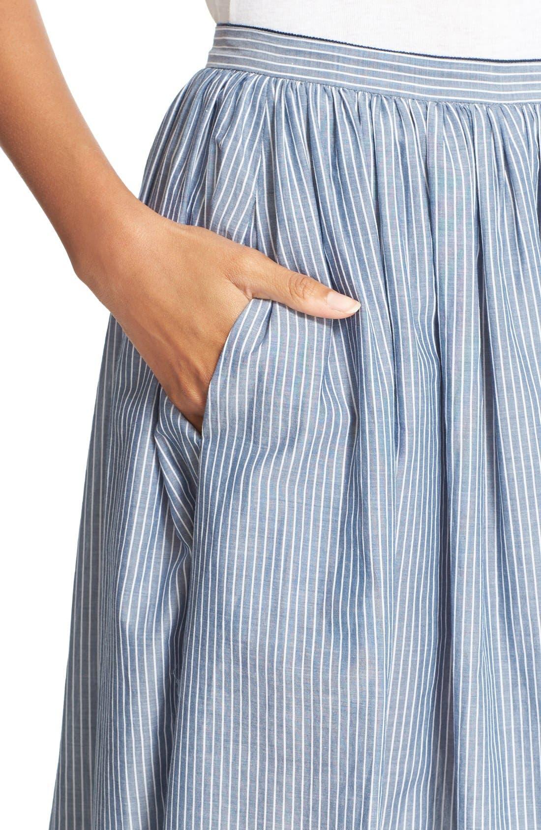 Alternate Image 5  - Vince Shirred Stripe Full Cotton Skirt