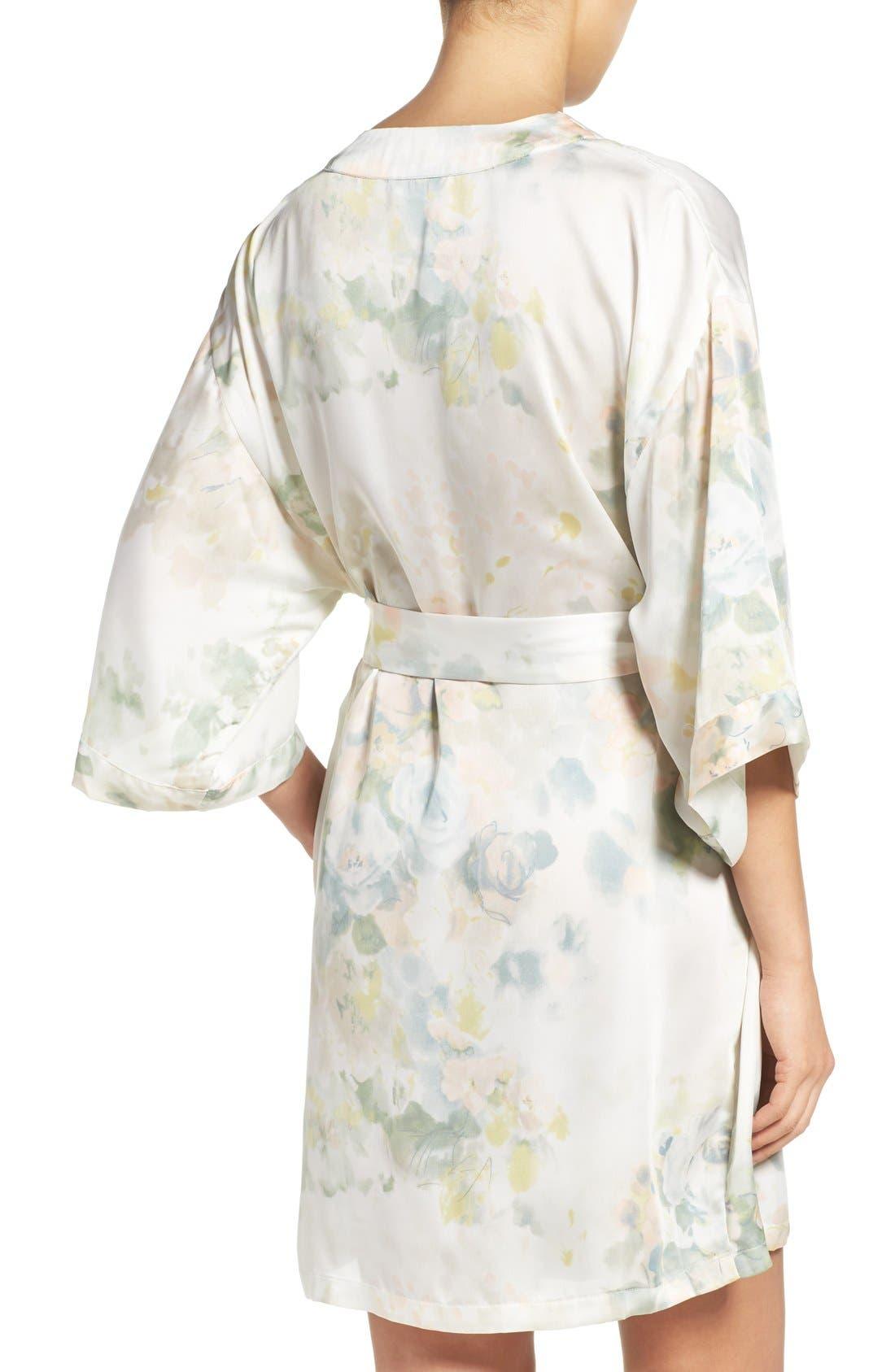 Isabella Floral Print Kimono Robe,                             Alternate thumbnail 2, color,                             Ivory Sage