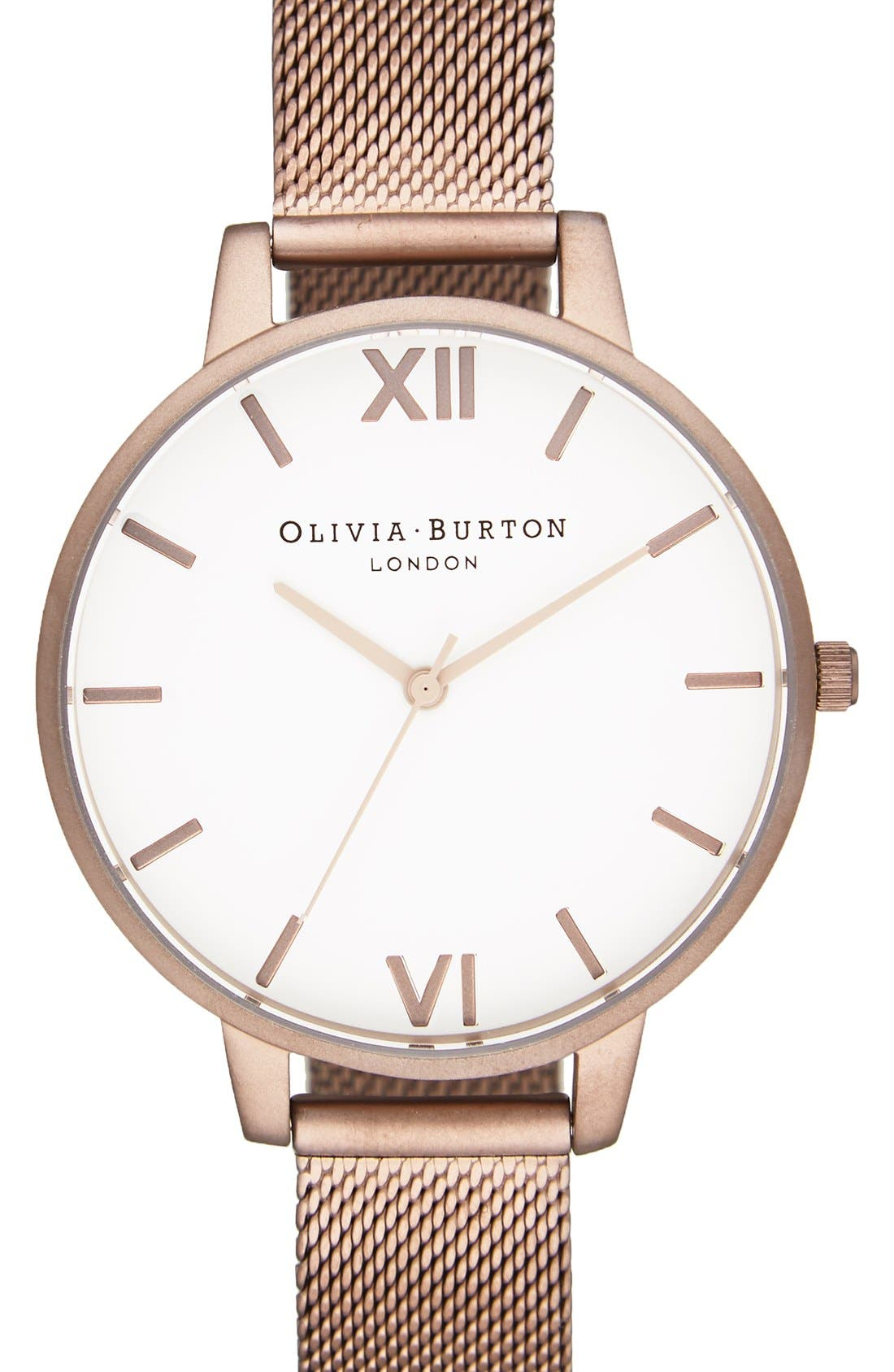 'Big Dial' Mesh Strap Watch, 38mm,                         Main,                         color, Brown/ White