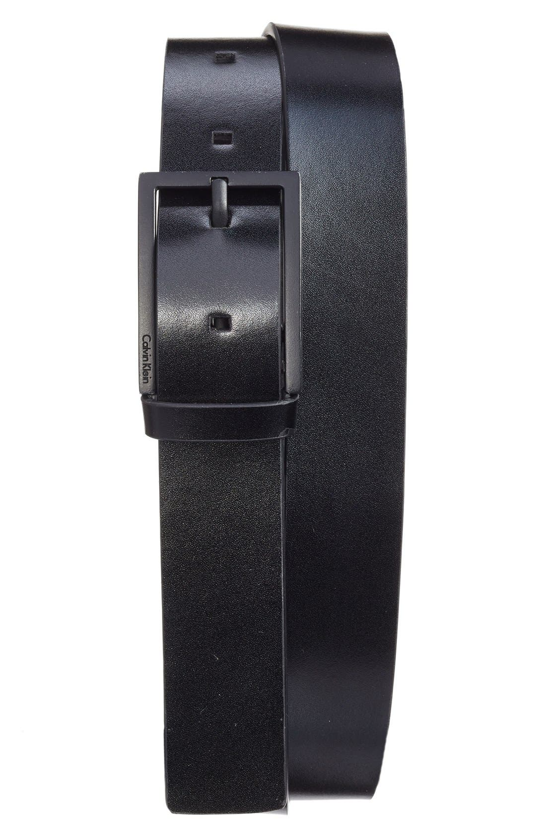 Matte Leather Belt,                         Main,                         color, Black Black