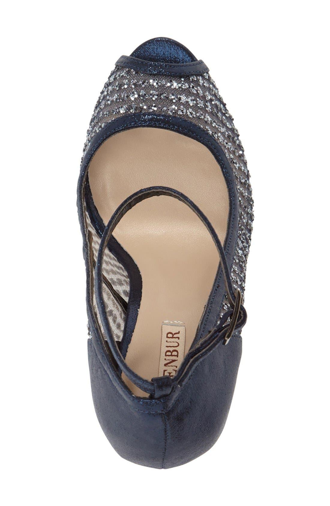 'Tambre' Glitter Platform Sandal,                             Alternate thumbnail 3, color,                             Blue Fabric