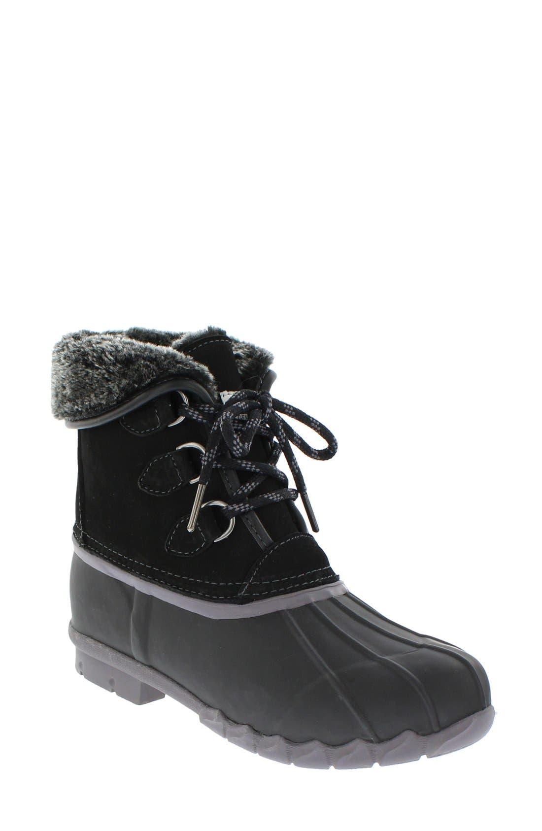 Defrost Faux Fur Lined Duck Boot,                         Main,                         color, Black/ Black