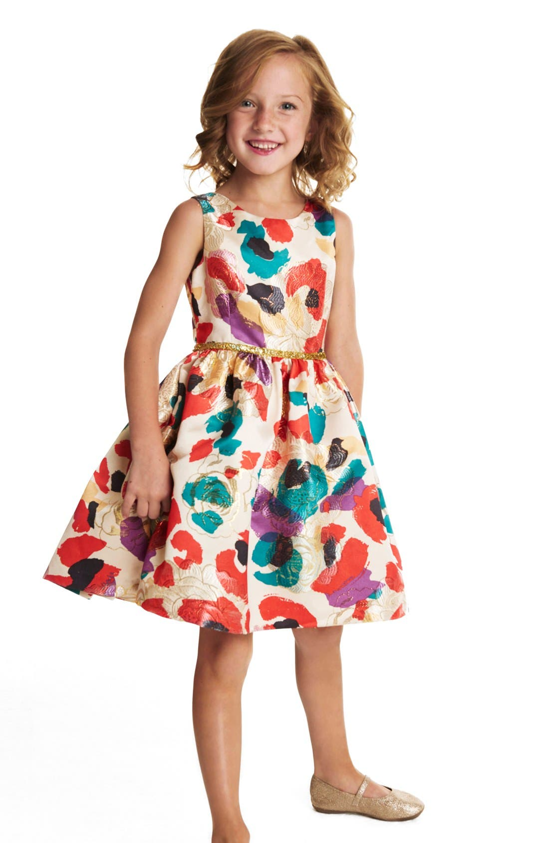 Watercolor Floral Brocade Dress,                             Alternate thumbnail 3, color,                             Multi Red