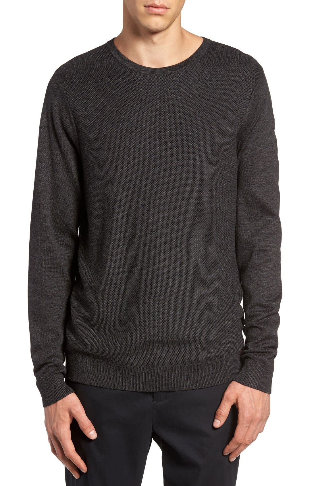 Honeycomb Stitch Crewneck Sweater,                         Main,                         color, Grey Dark Charcoal Heather