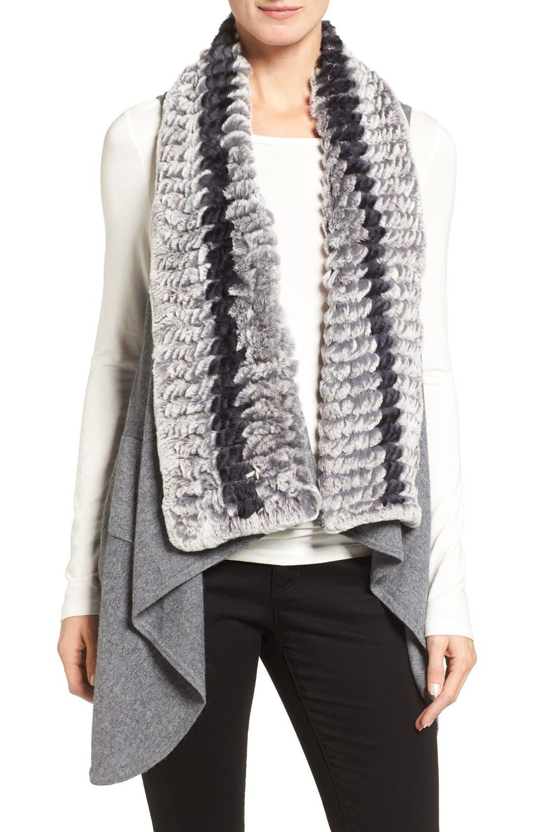 Cashmere Drape Vest with Genuine Rex Rabbit Fur Trim,                         Main,                         color, Grey