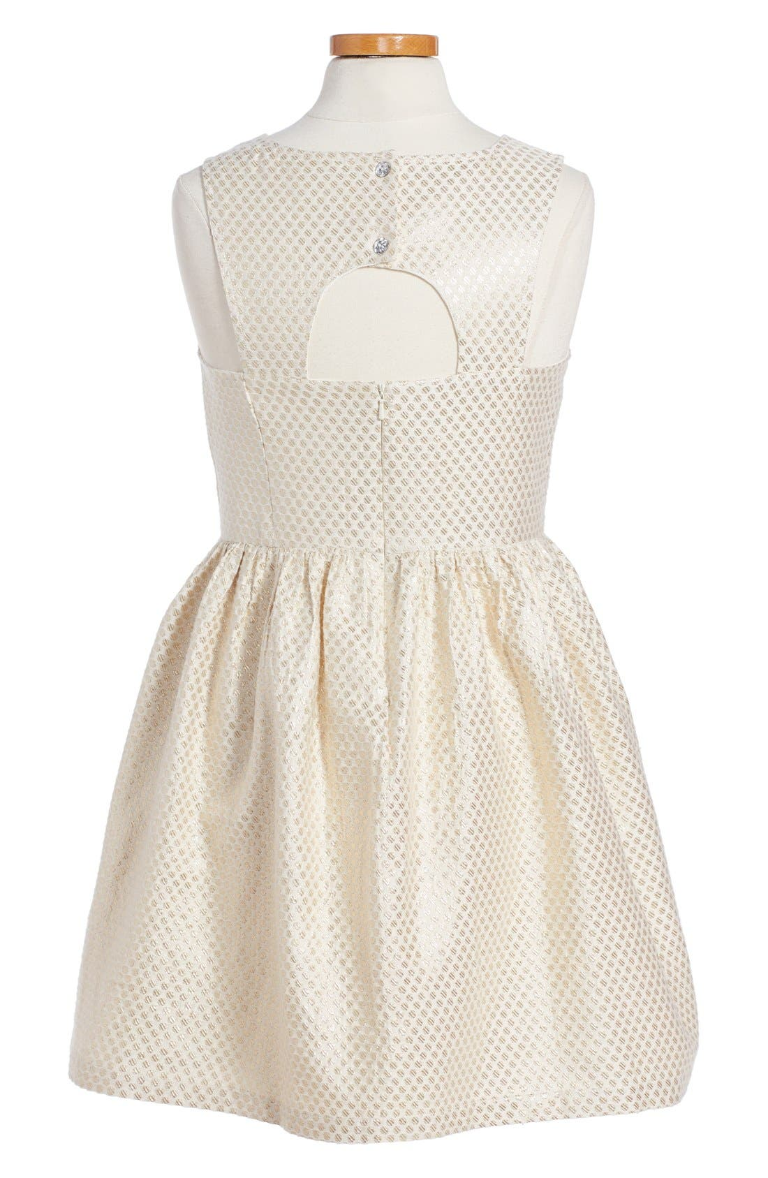 'Sophie' Metallic Dot Dress,                             Alternate thumbnail 2, color,                             Ivory Vanilla-Gold Dot