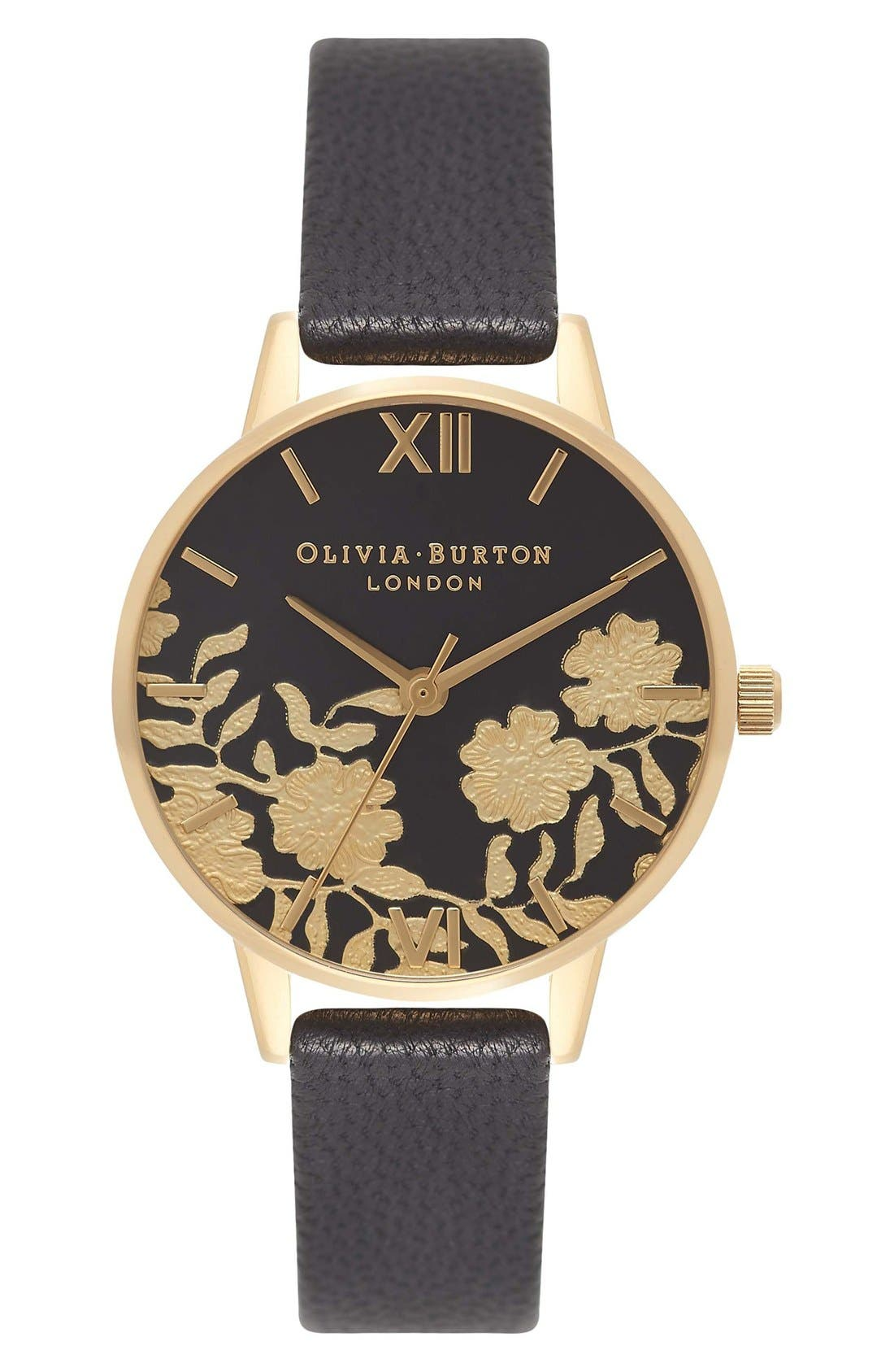 Olivia Burton Lace Detail Leather Strap Watch, 30mm