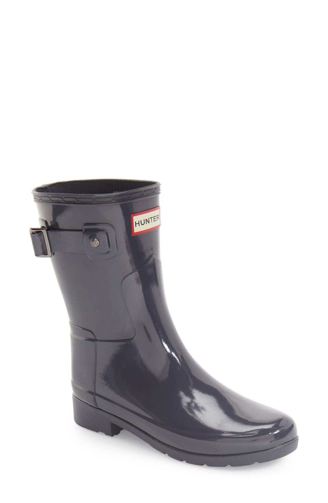 Hunter 'Refined Short' Gloss Rain Boot (Women)