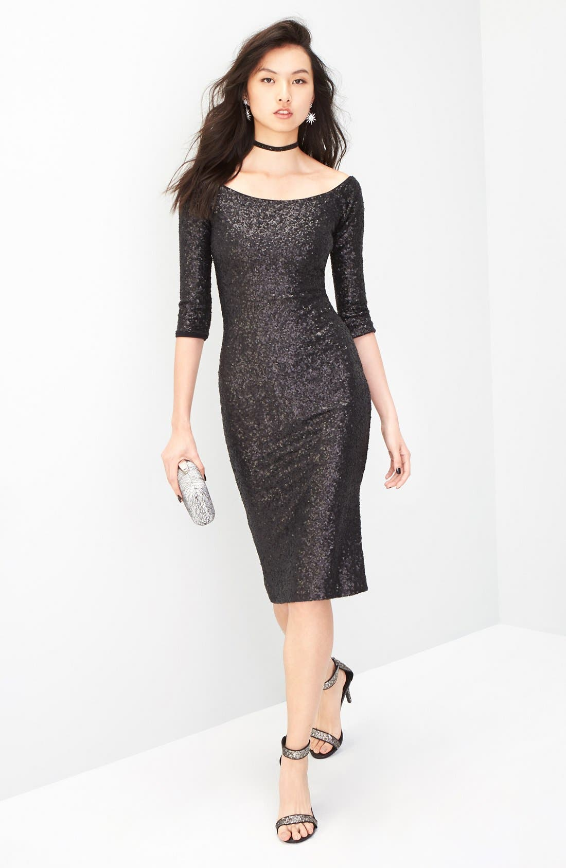 Alternate Image 2  - Dress the Population Addison Sequin Midi Dress