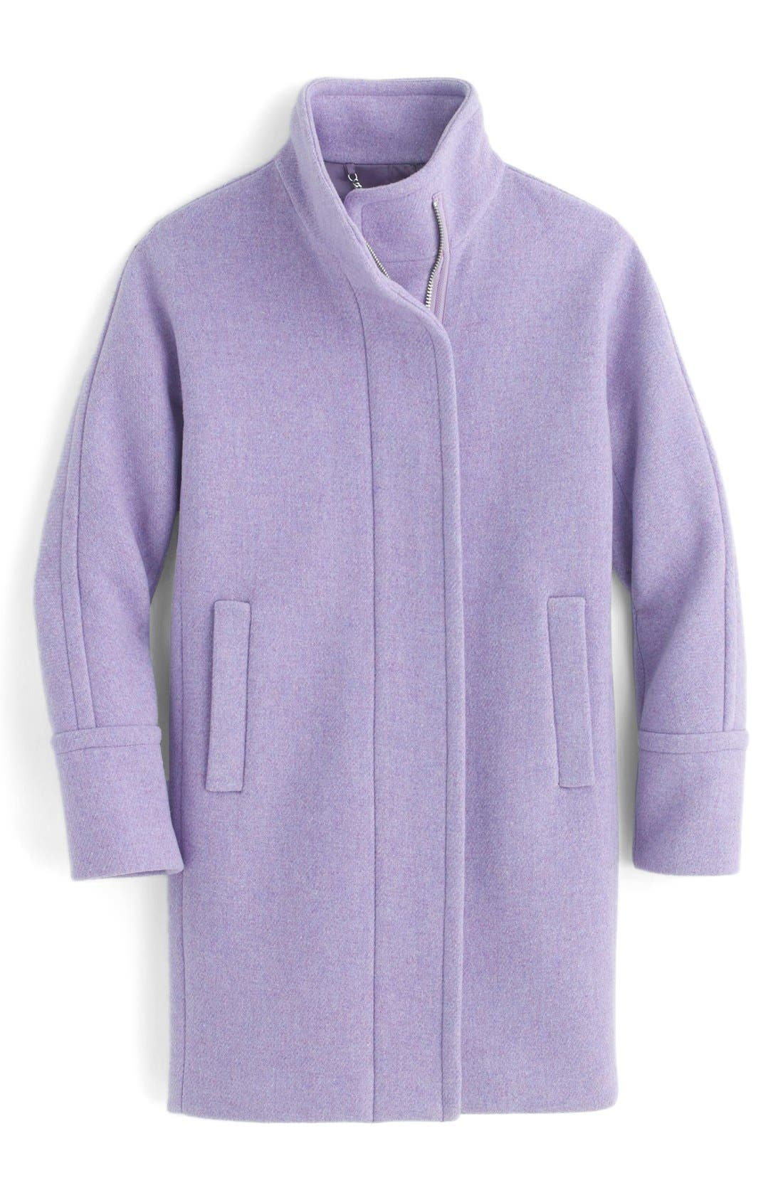 Stadium Cloth Cocoon Coat,                             Alternate thumbnail 3, color,                             Heather French Violet