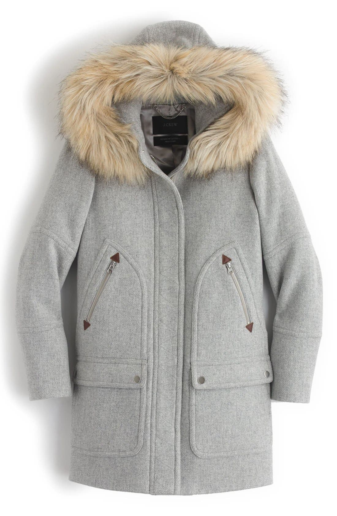 Alternate Image 4  - J.Crew Chateau Stadium Cloth Parka with Faux Fur (Regular & Petite)