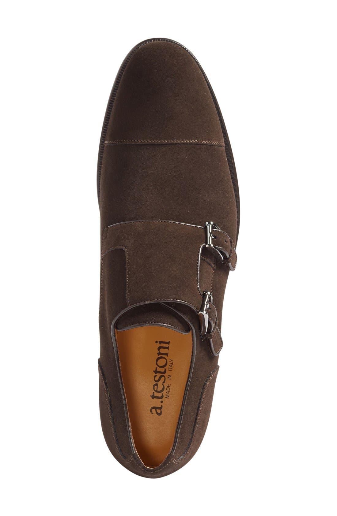 Double Monk Strap Shoe,                             Alternate thumbnail 4, color,                             Dark Brown Suede