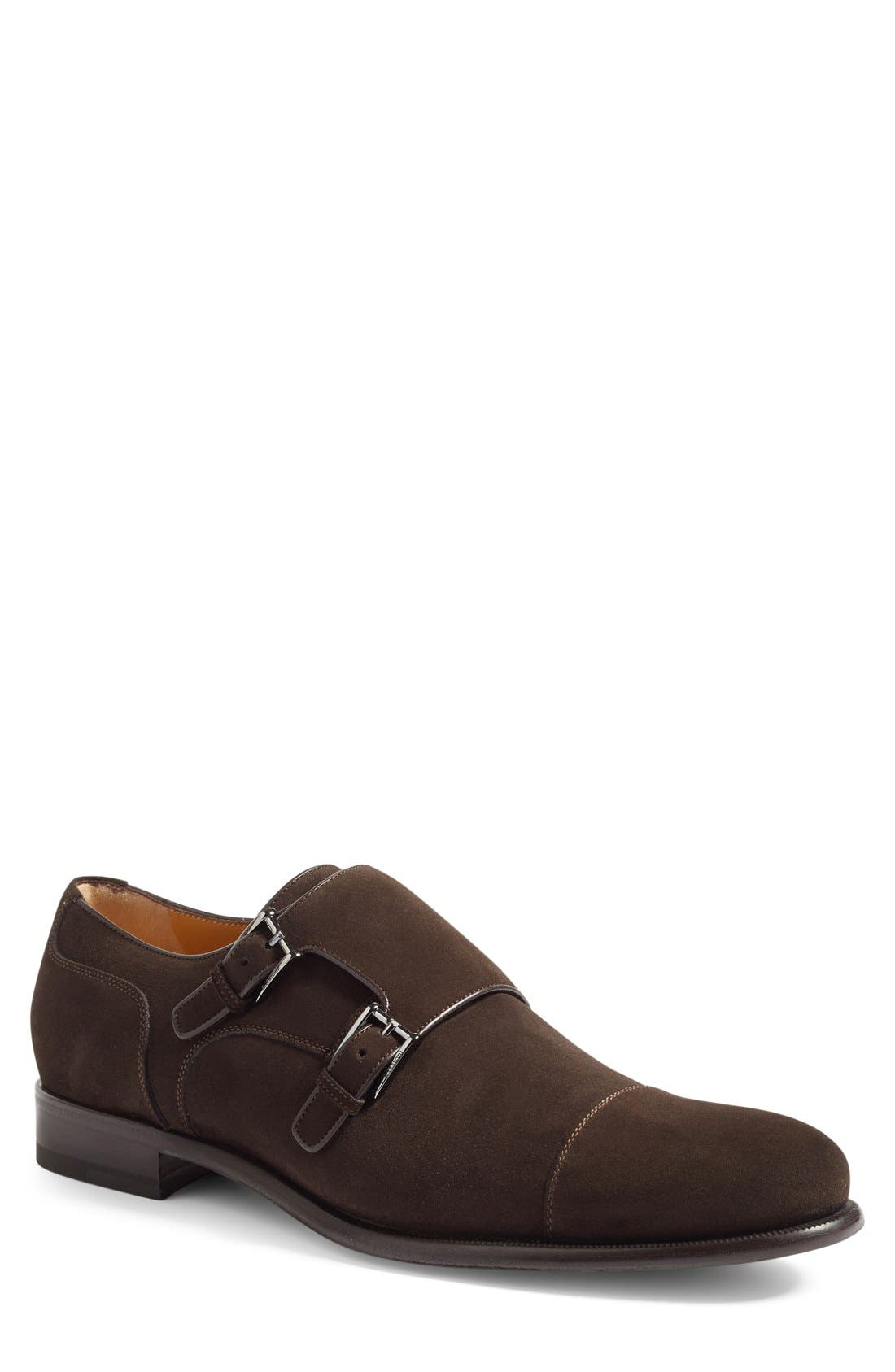 Double Monk Strap Shoe,                             Main thumbnail 1, color,                             Dark Brown Suede
