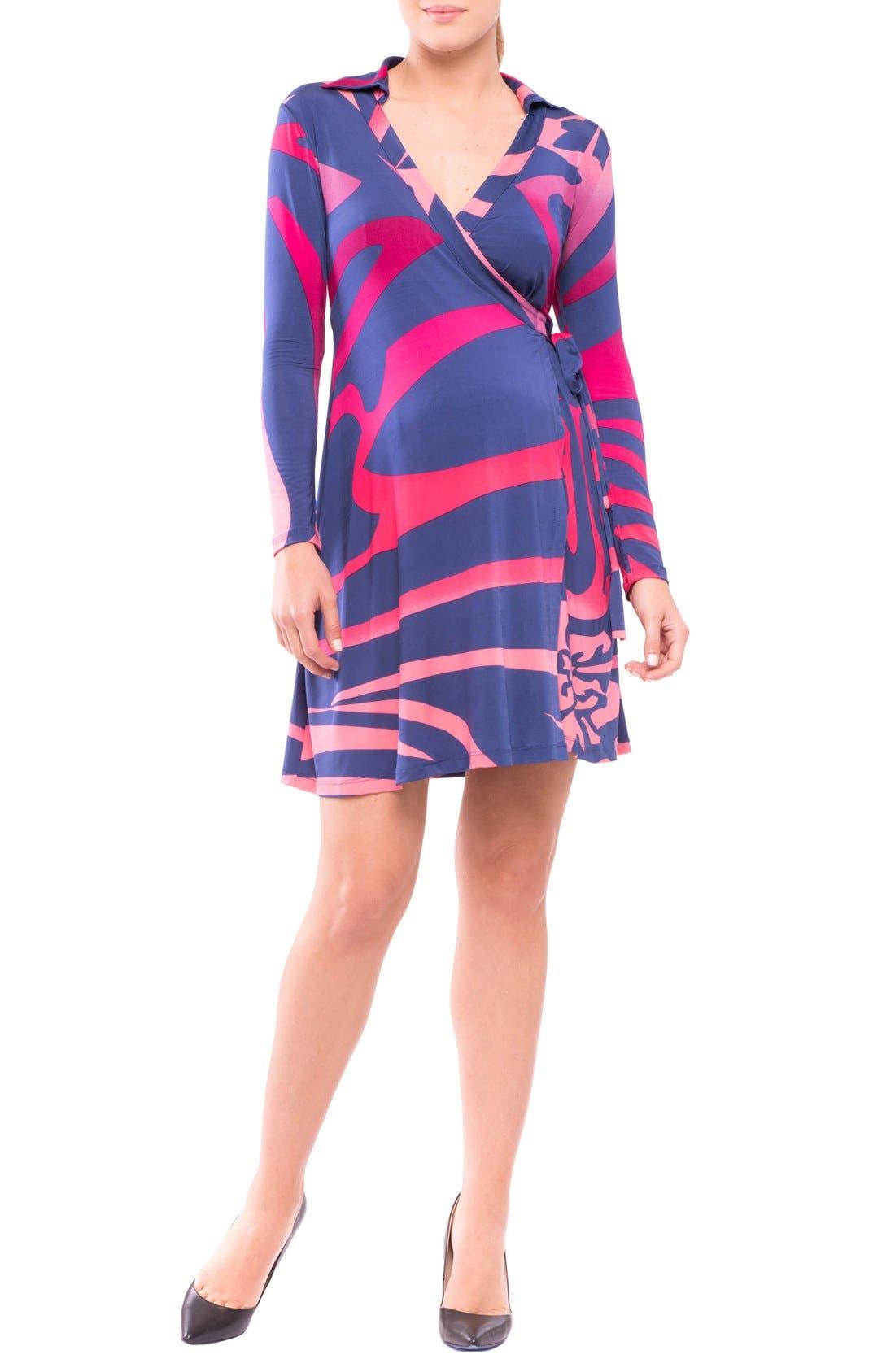 Lorraine Wrap Maternity Dress,                             Main thumbnail 1, color,                             Pink/ Blue Print