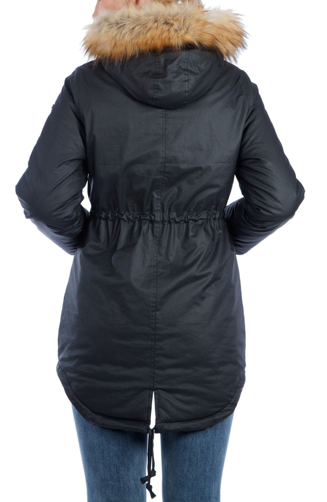 Sofia Waxed 3-in-1 Maternity/Nursing Jacket with Faux Fur Trim,                             Alternate thumbnail 2, color,                             Black
