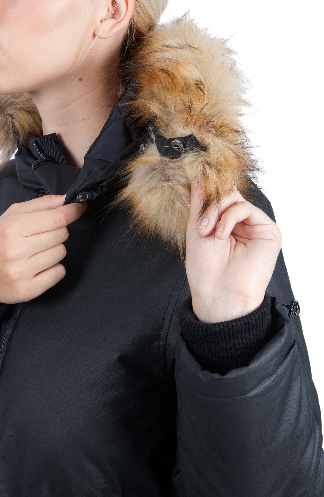 Sofia Waxed 3-in-1 Maternity/Nursing Jacket with Faux Fur Trim,                             Alternate thumbnail 6, color,                             Black