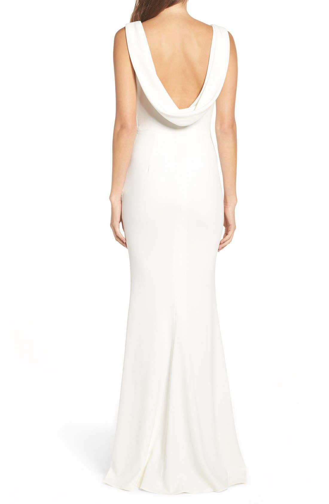 Alternate Image 6  - Katie May Drape Back Crepe Gown