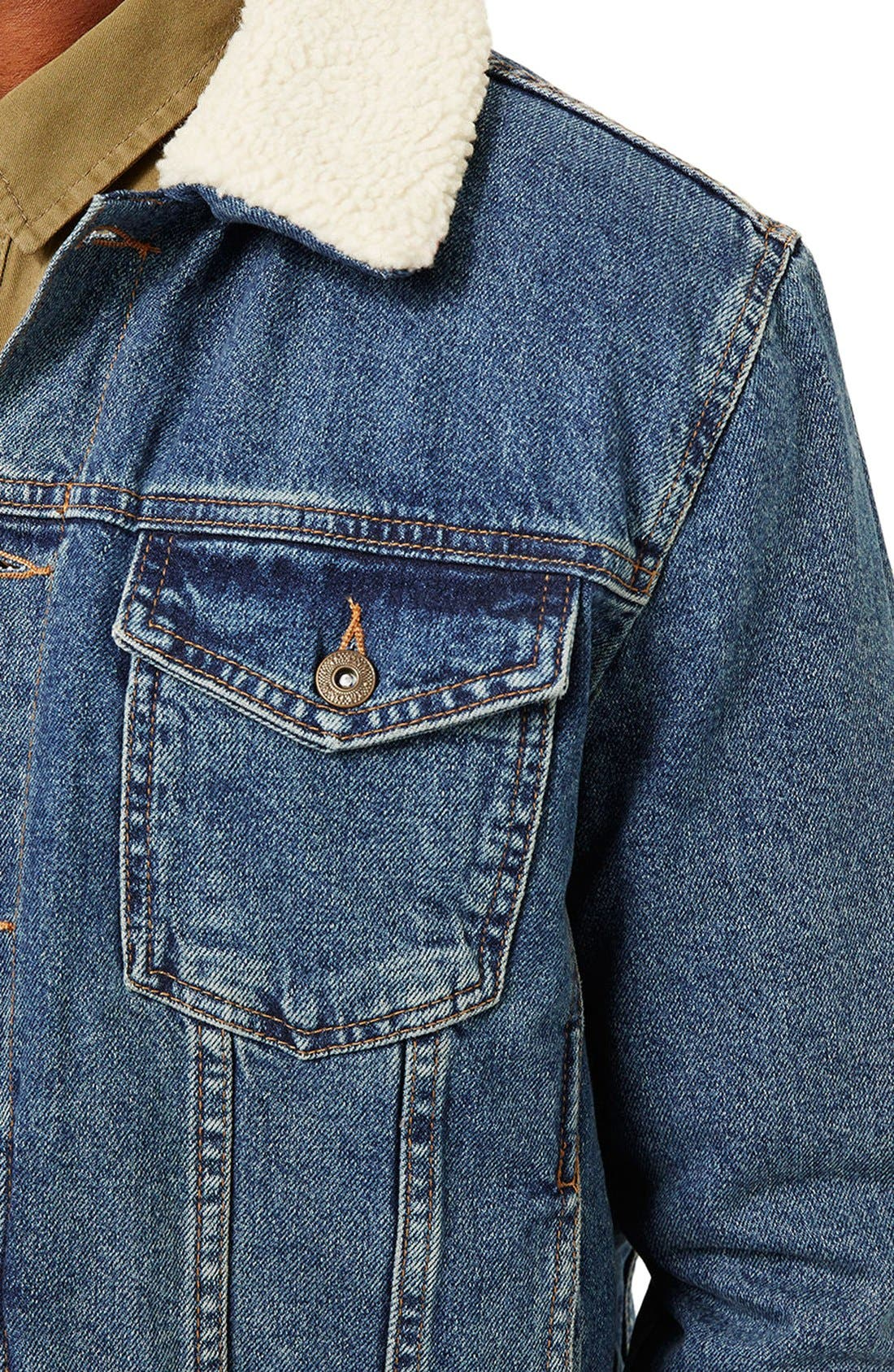 Borg Denim Jacket,                             Alternate thumbnail 4, color,                             Blue