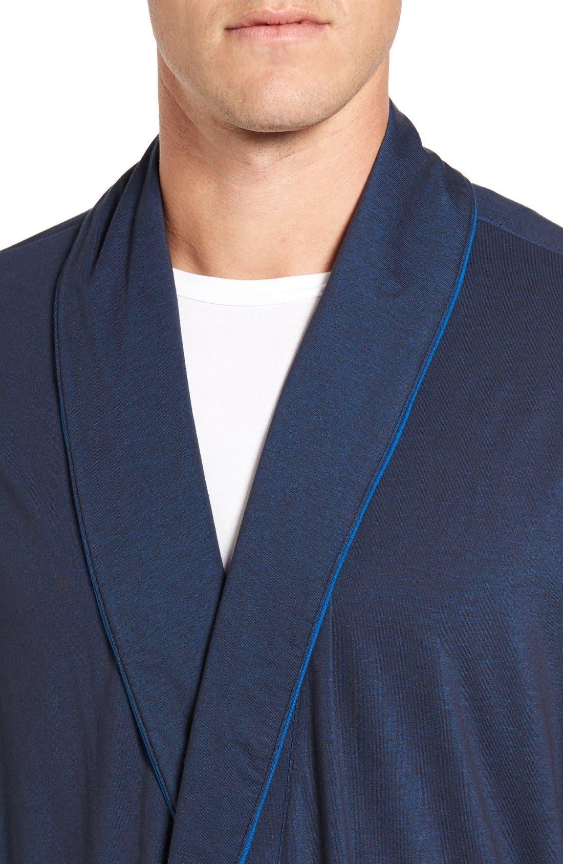 Cotton Blend Robe,                             Alternate thumbnail 4, color,                             Navy Mix
