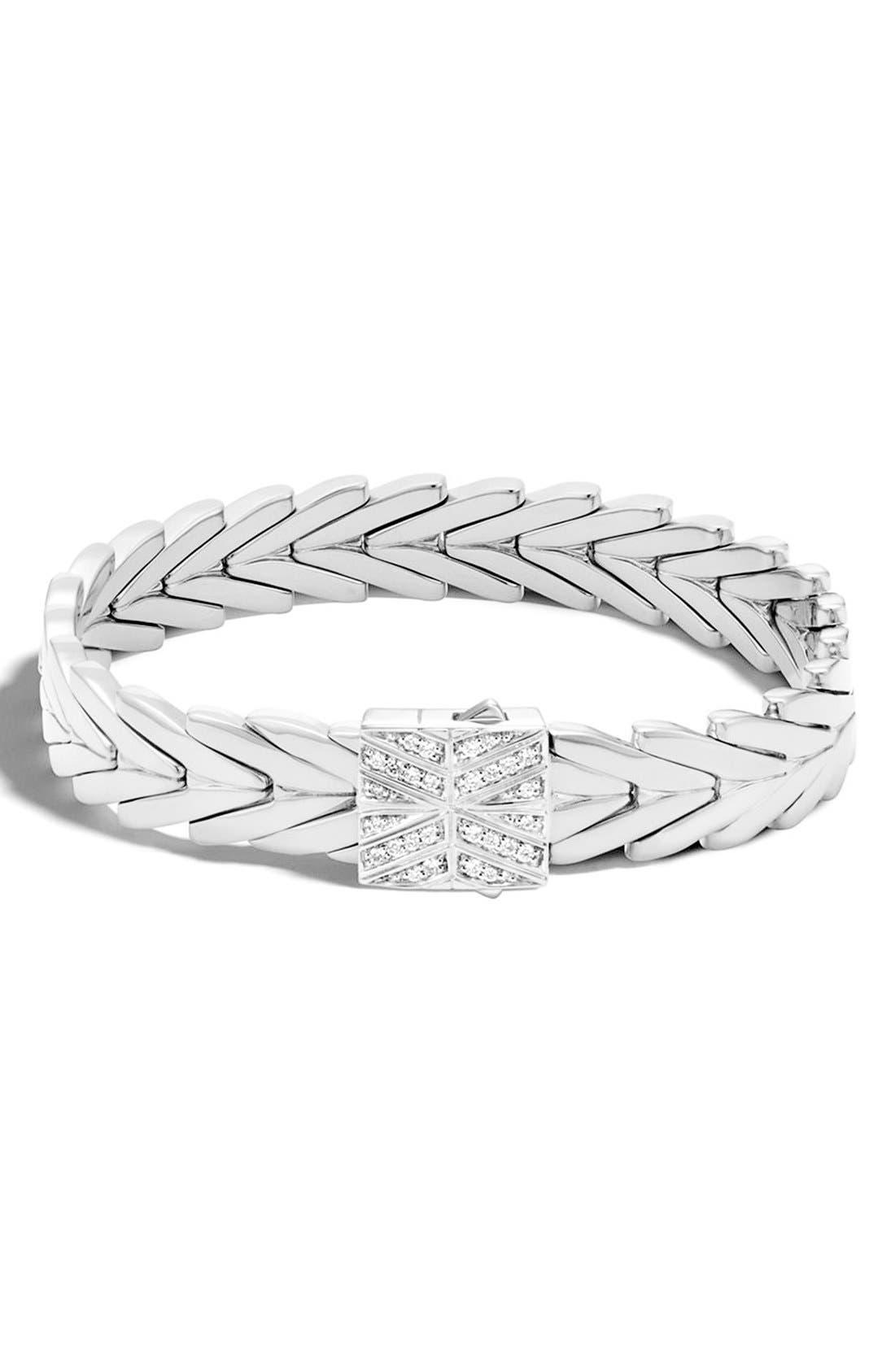 'Classic' Link Bracelet,                             Main thumbnail 1, color,                             Silver/Diamond