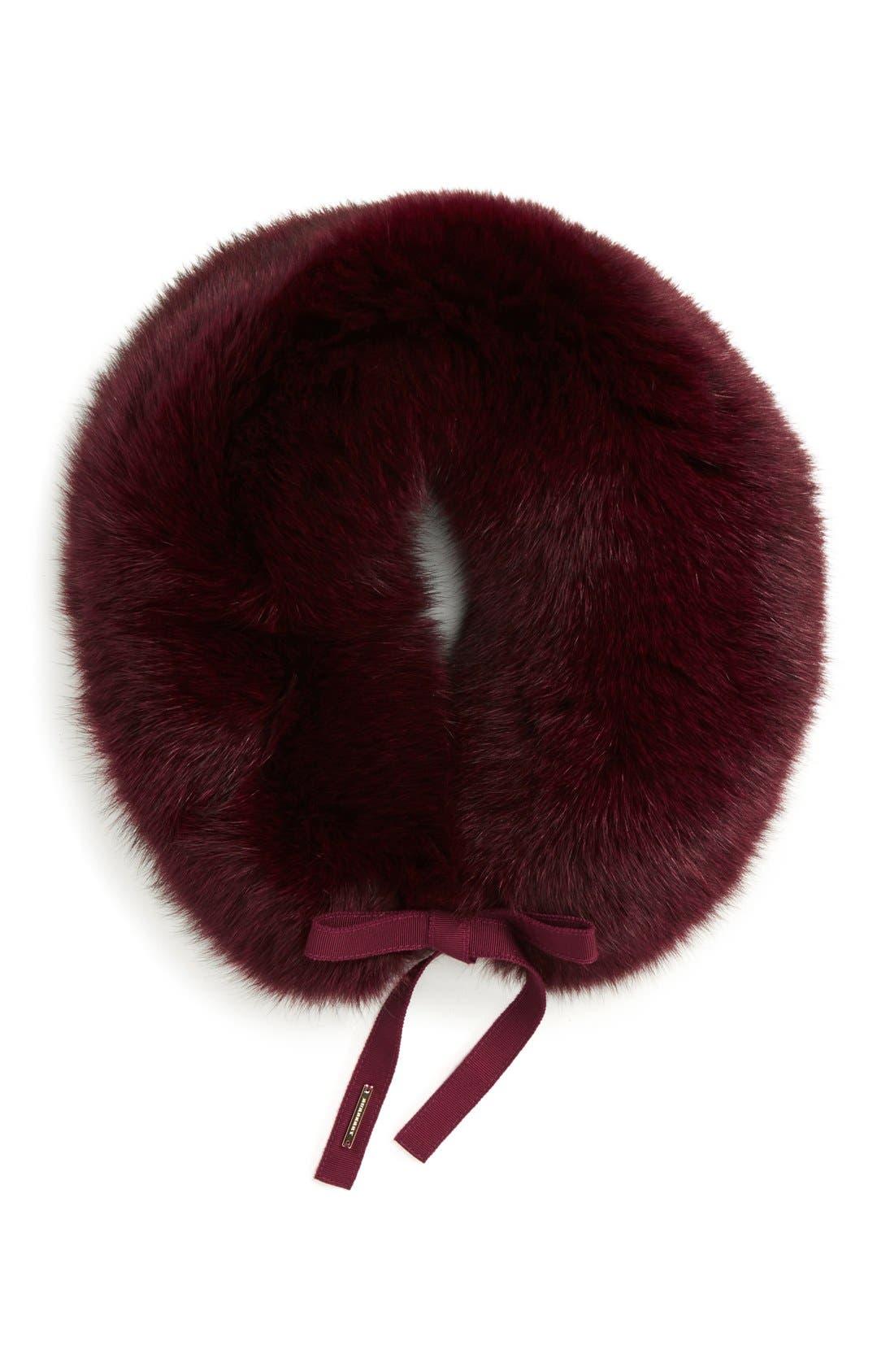 Genuine Fox Fur Collar,                             Alternate thumbnail 2, color,                             Plum