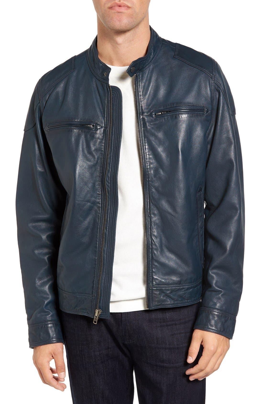 Black Rivet Blue Leather Moto Jacket