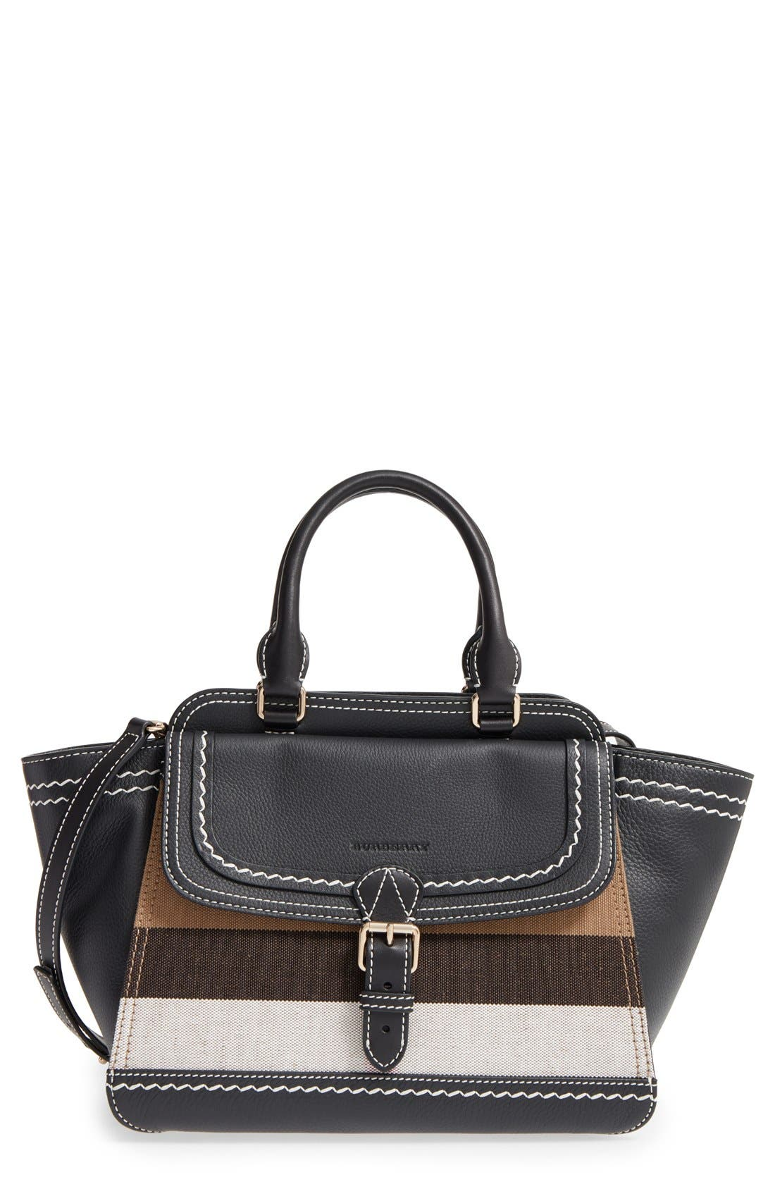 Alternate Image 1 Selected - Burberry Medium Harcourt Check & Leather Tote