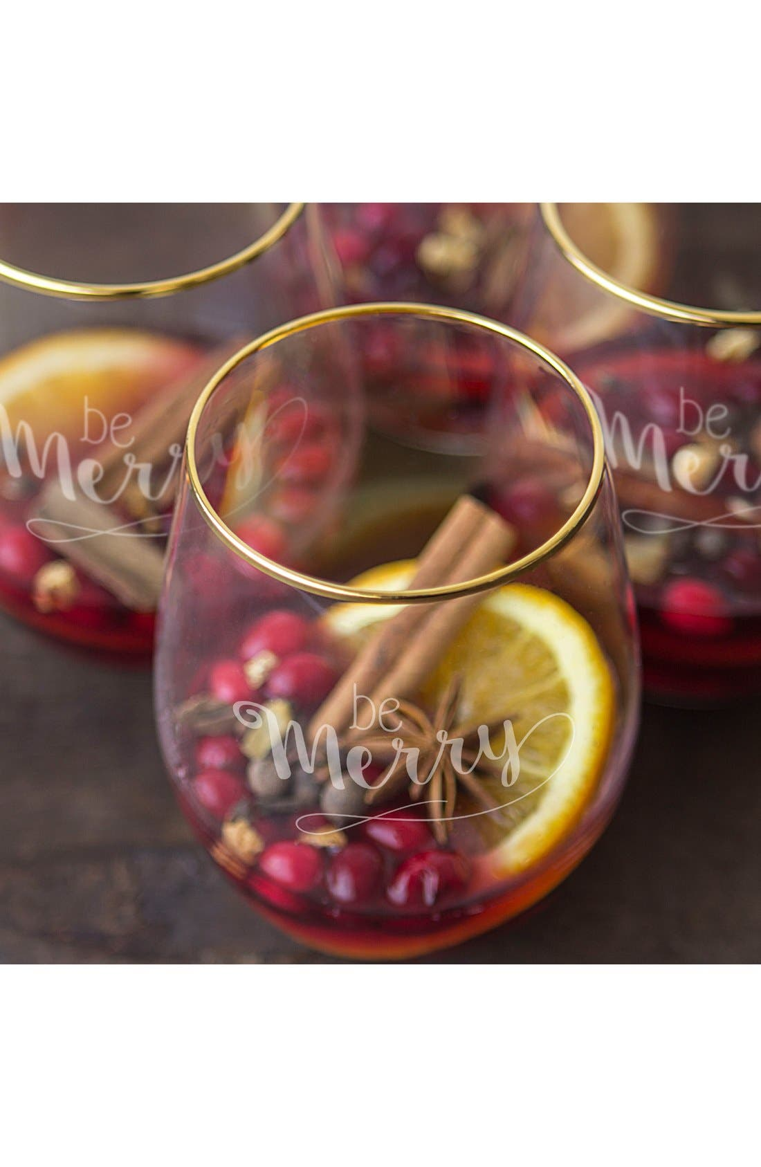 Be Merry Set of 4 Stemless Wine Glasses,                             Alternate thumbnail 4, color,                             Gold