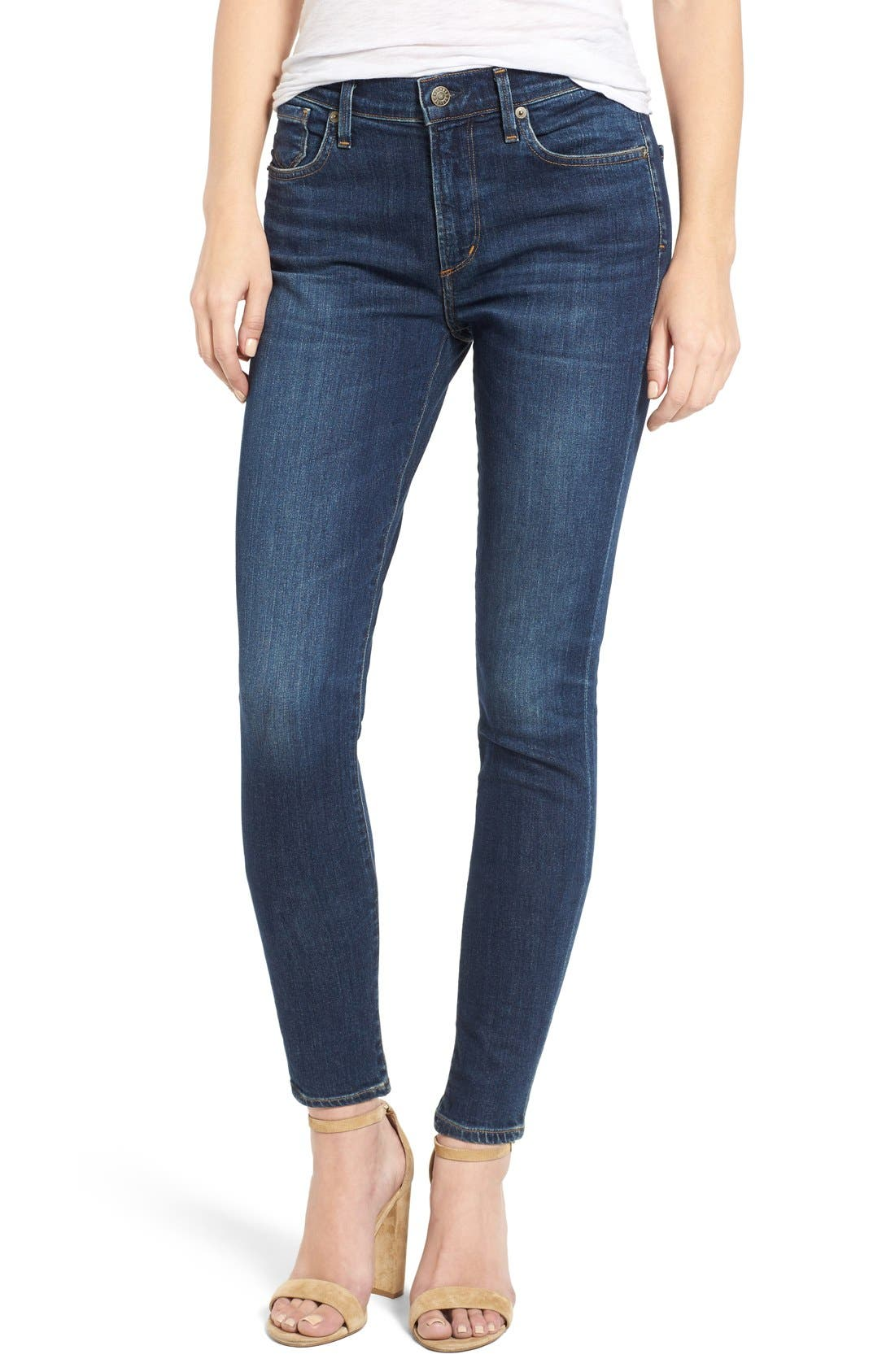 Alternate Image 1 Selected - AGOLDE Sophie High Rise Ankle Skinny Jeans (Chamberlin)