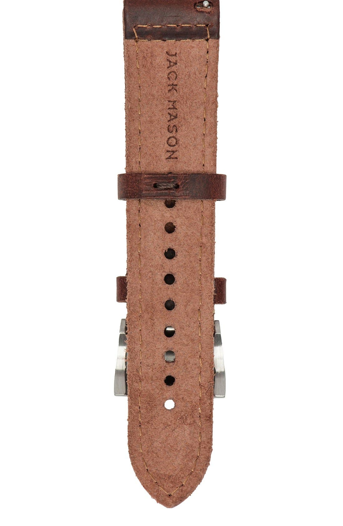 Alternate Image 2  - Jack Mason Leather Watch Strap, 22mm