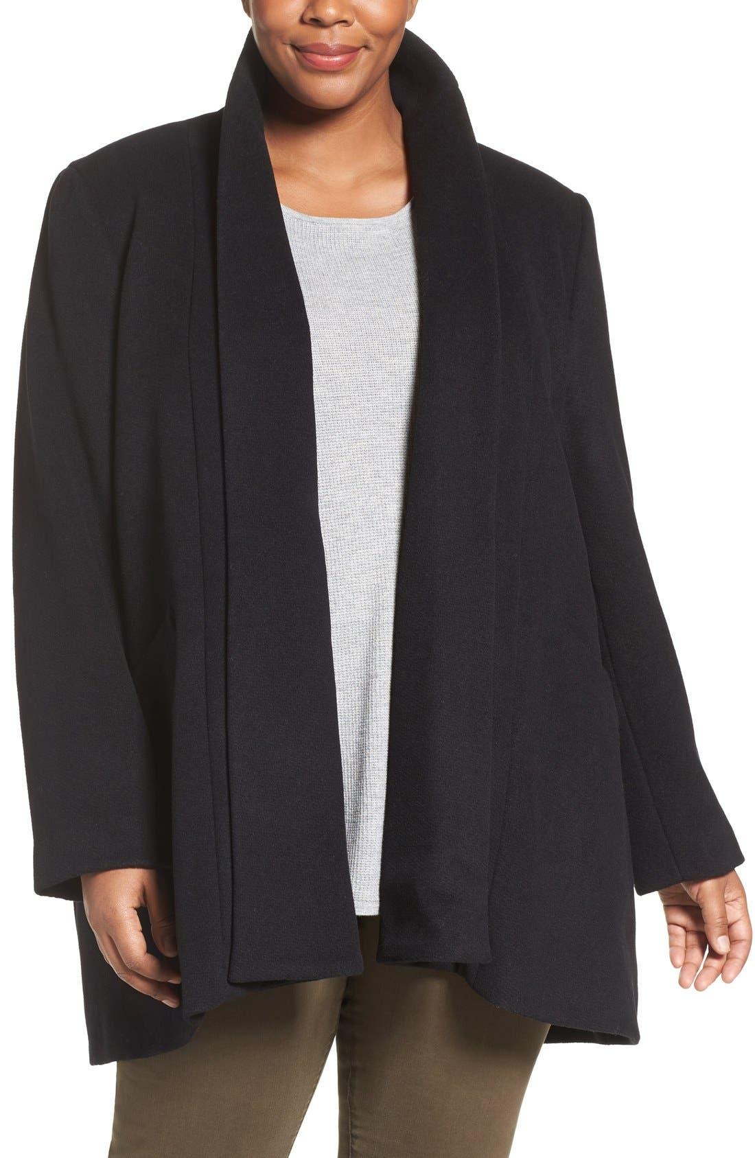 Main Image - Calvin Klein Lux Basketweave Flyaway Coat (Plus Size)