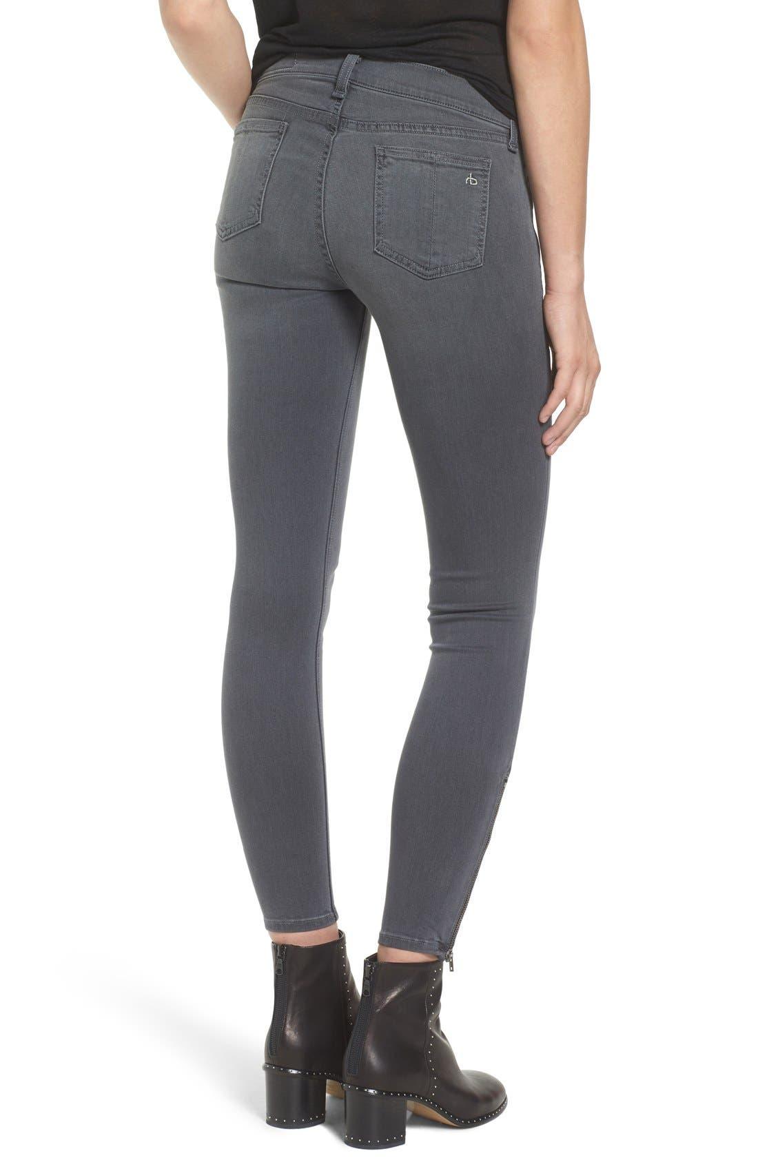 Alternate Image 2  - rag & bone/JEAN RBW23 Zip Detail Skinny Jeans (Seattle)