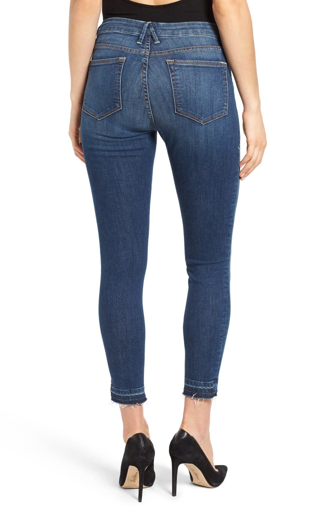 Good Legs High Rise Crop Released Hem Skinny Jeans,                             Alternate thumbnail 2, color,                             Blue 009