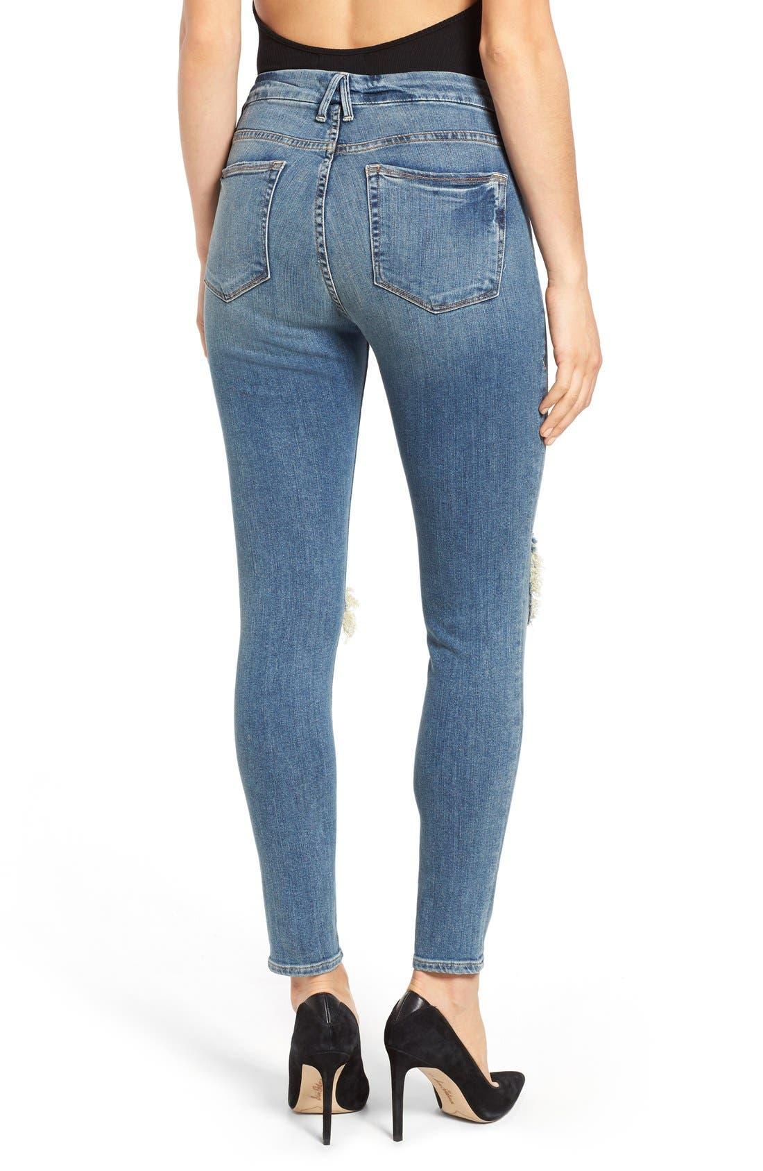 Alternate Image 2  - Good American Good Legs High Rise Ripped Skinny Jeans (Blue 006)