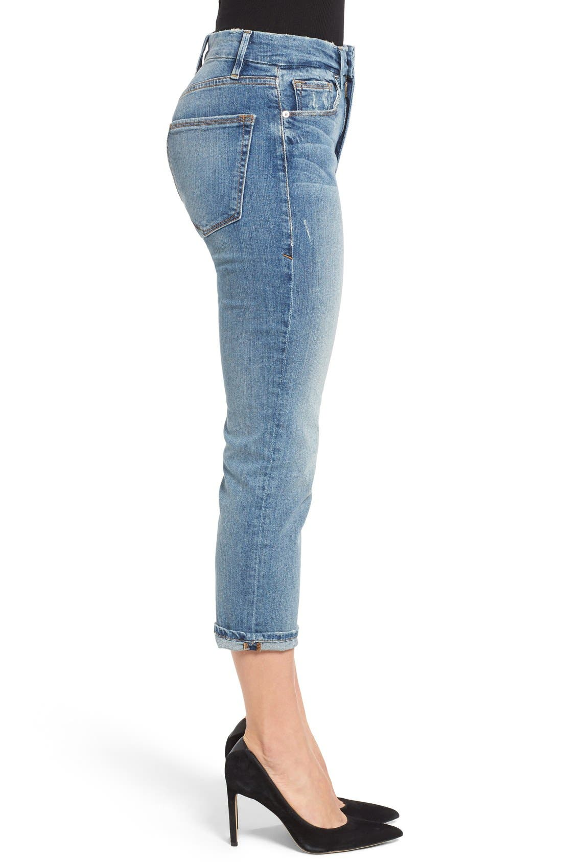 Alternate Image 3  - Good American Good Cuts High Rise Boyfriend Jeans (Blue 012) (Extended Sizes)