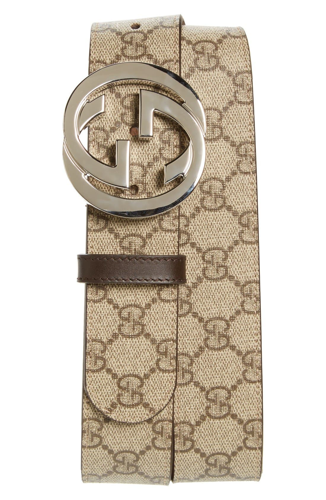Logo Buckle Belt,                             Main thumbnail 1, color,                             Brown