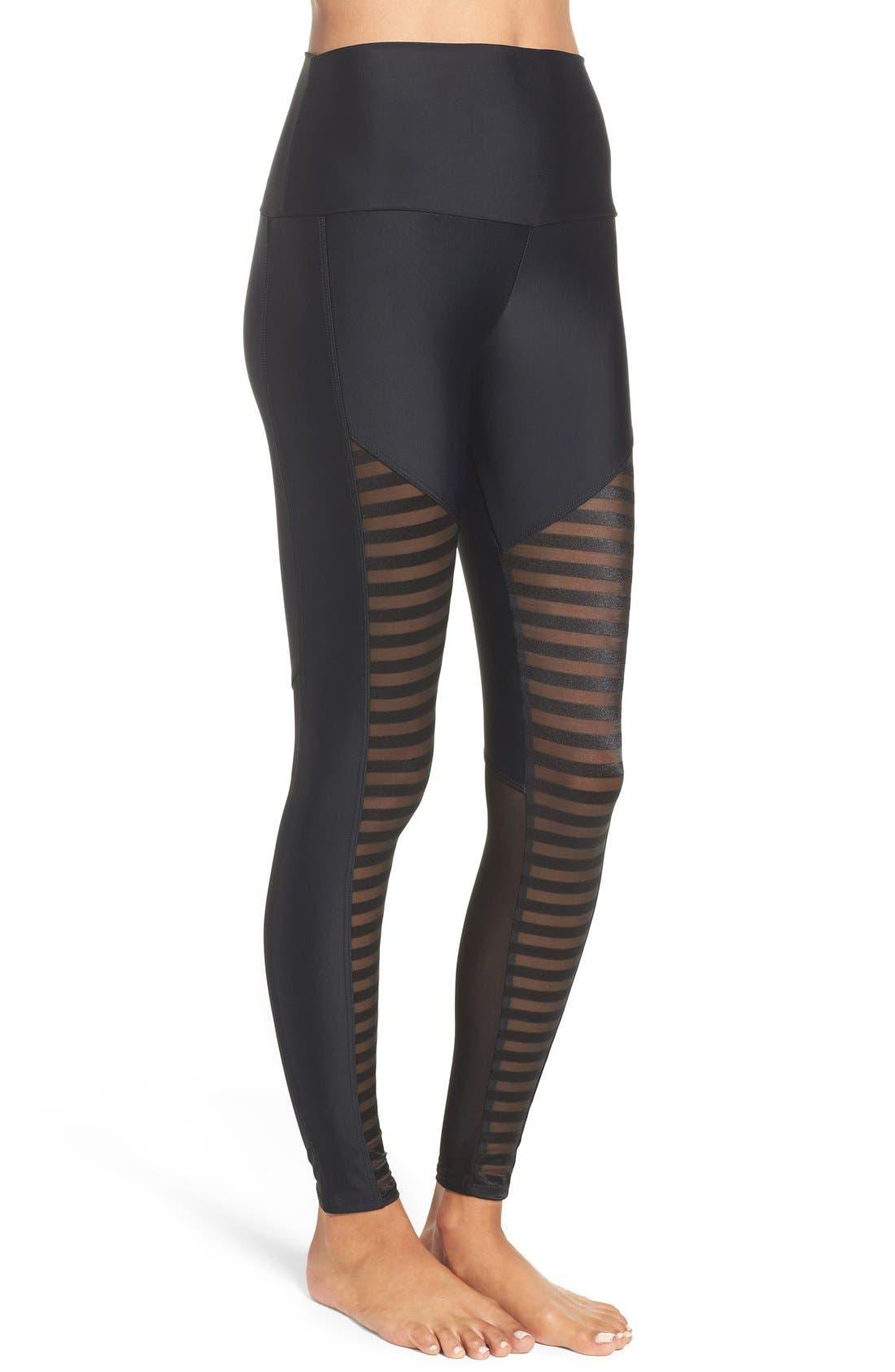 Fierce Leggings,                             Alternate thumbnail 3, color,                             Black Stripe