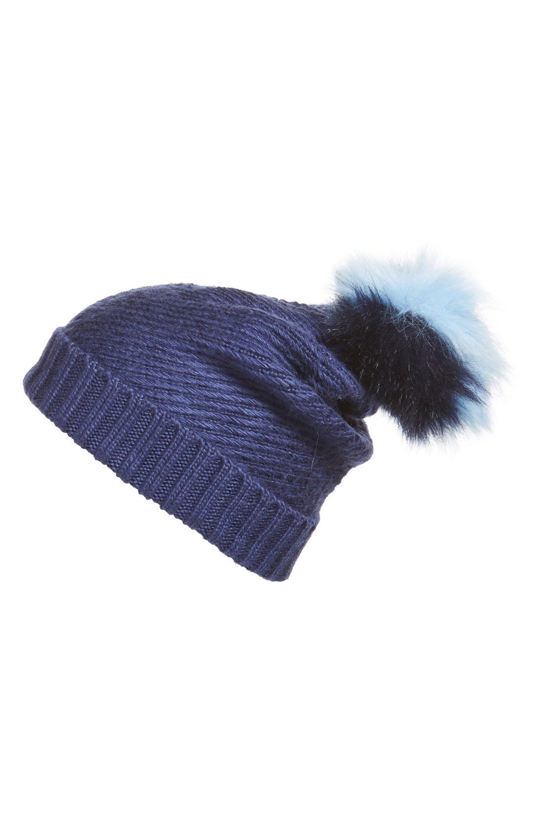 Faux Fur Pompom Knit Beanie,                         Main,                         color, Deep Blue