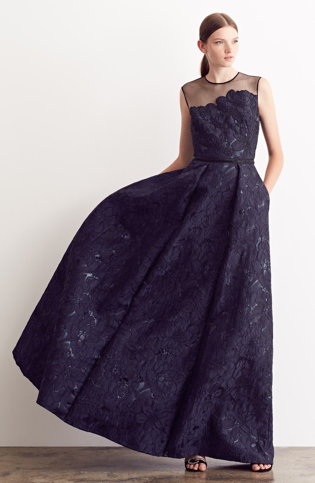 Alternate Image 6  - Carmen Marc Valvo Couture Illusion Yoke Embroidered Jacquard A-Line Gown