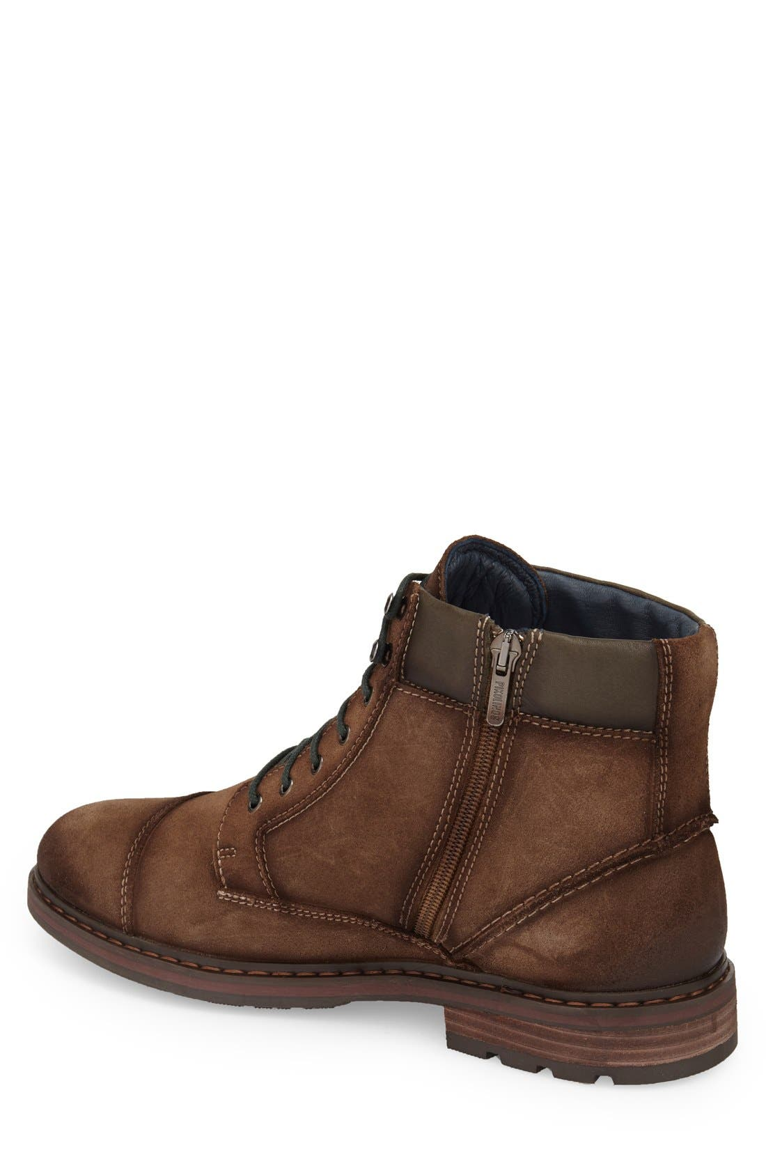 'Cacers' Lace-Up Zip Boot,                             Alternate thumbnail 2, color,                             Brown Leather
