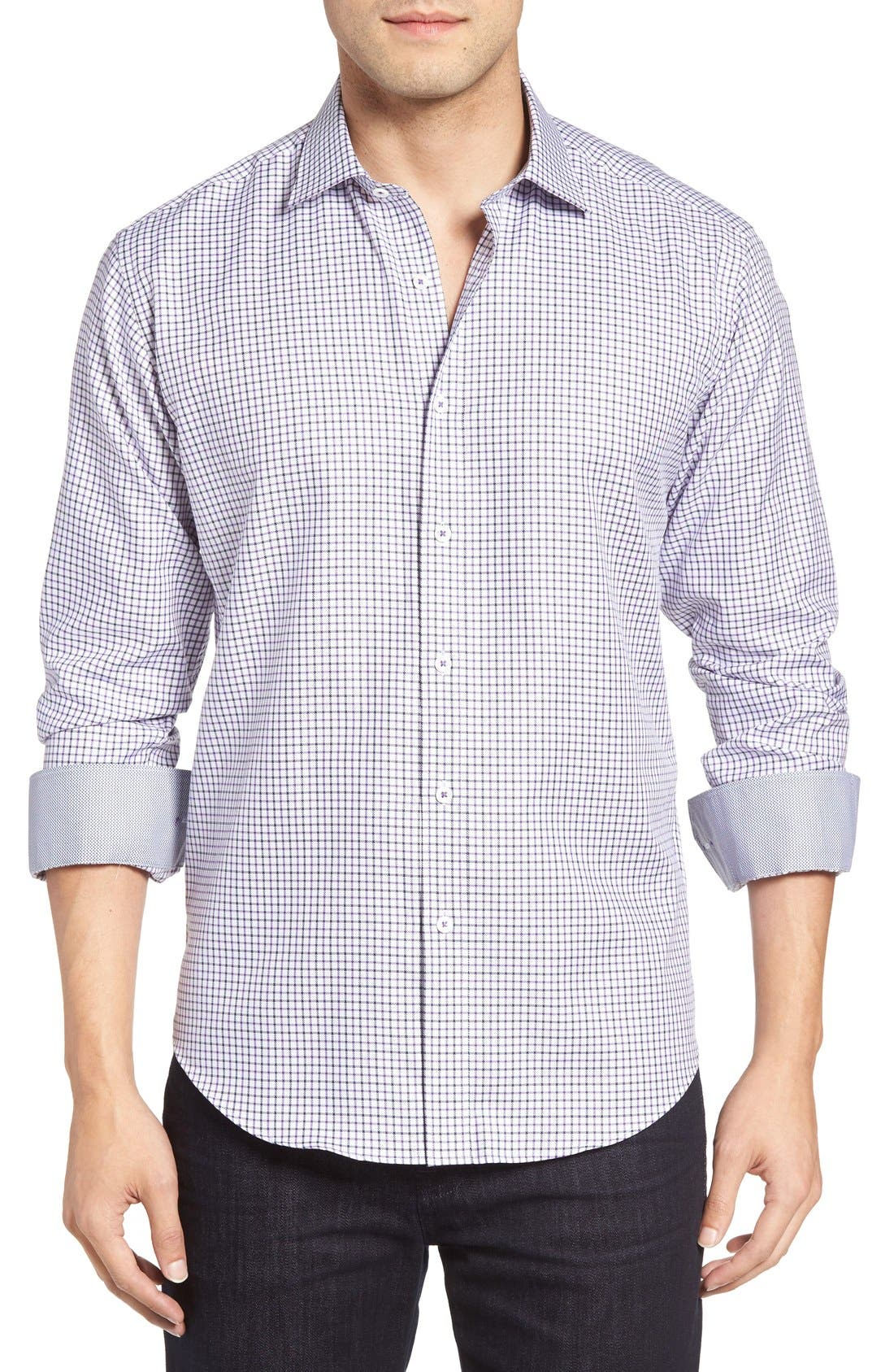 Shaped Fit Tattersall Sport Shirt,                             Main thumbnail 1, color,                             Orchid