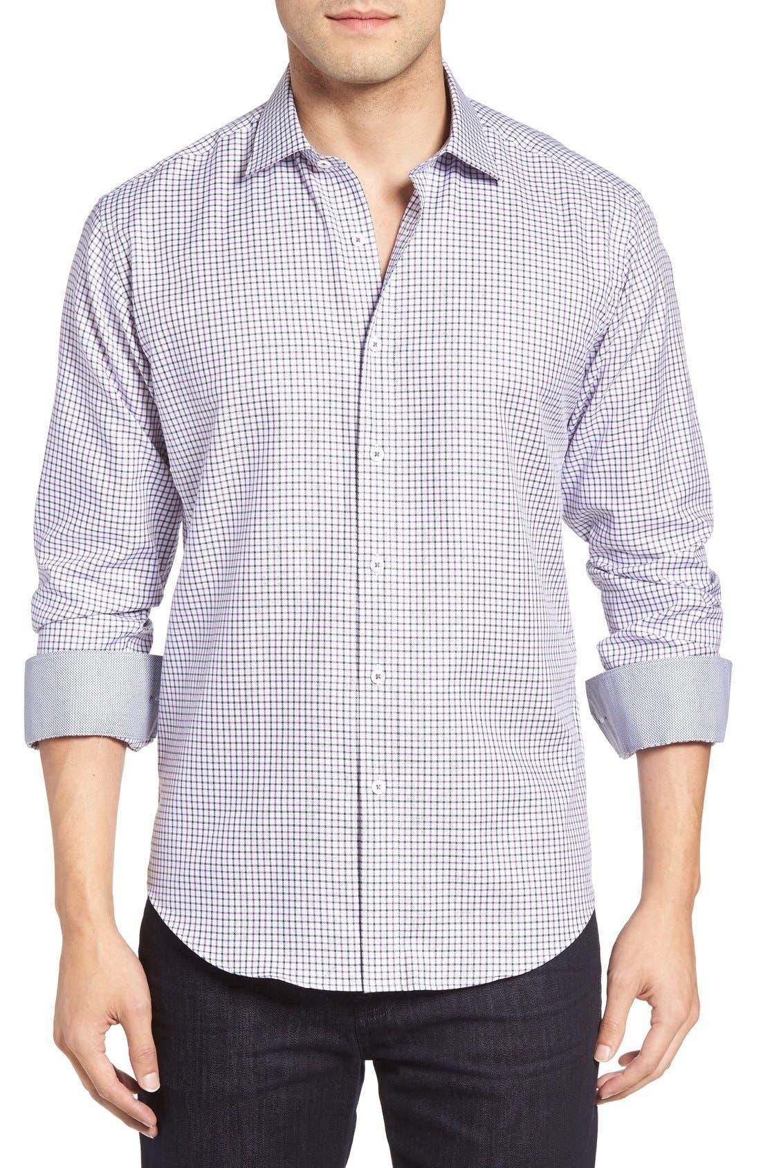 Main Image - Bugatchi Shaped Fit Tattersall Sport Shirt