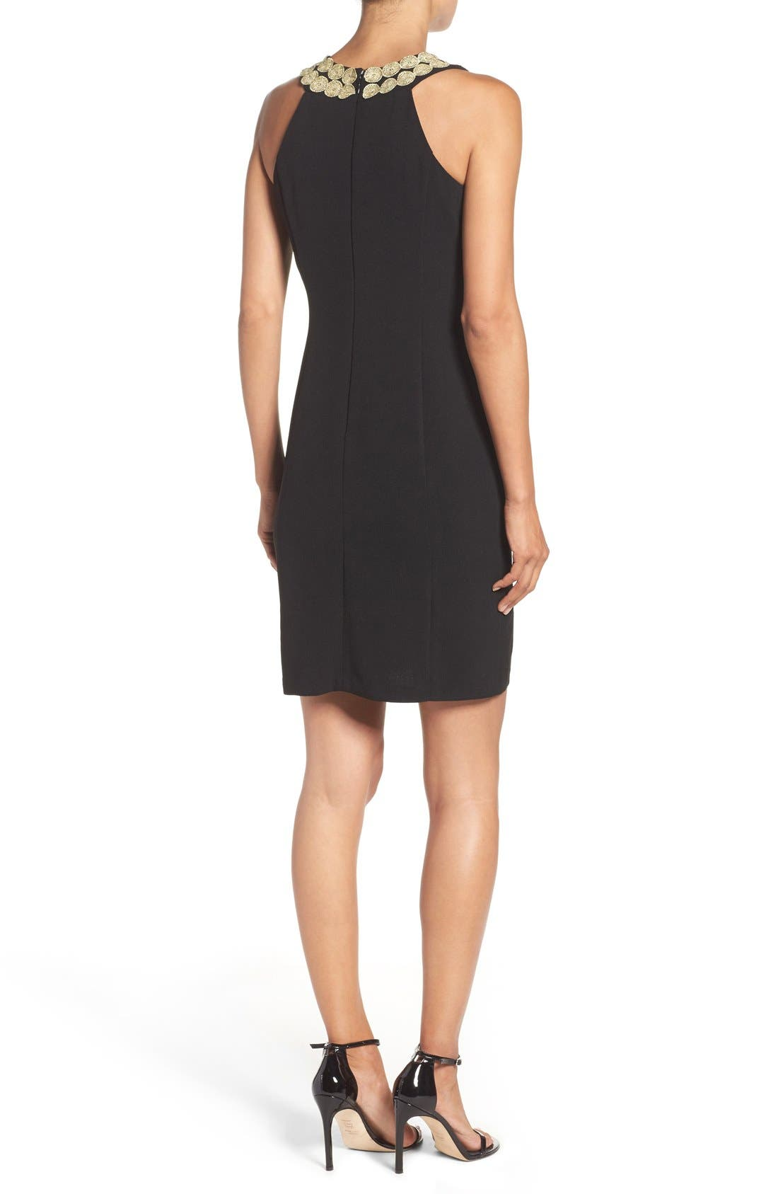 Stretch Sheath Dress,                             Alternate thumbnail 2, color,                             Black
