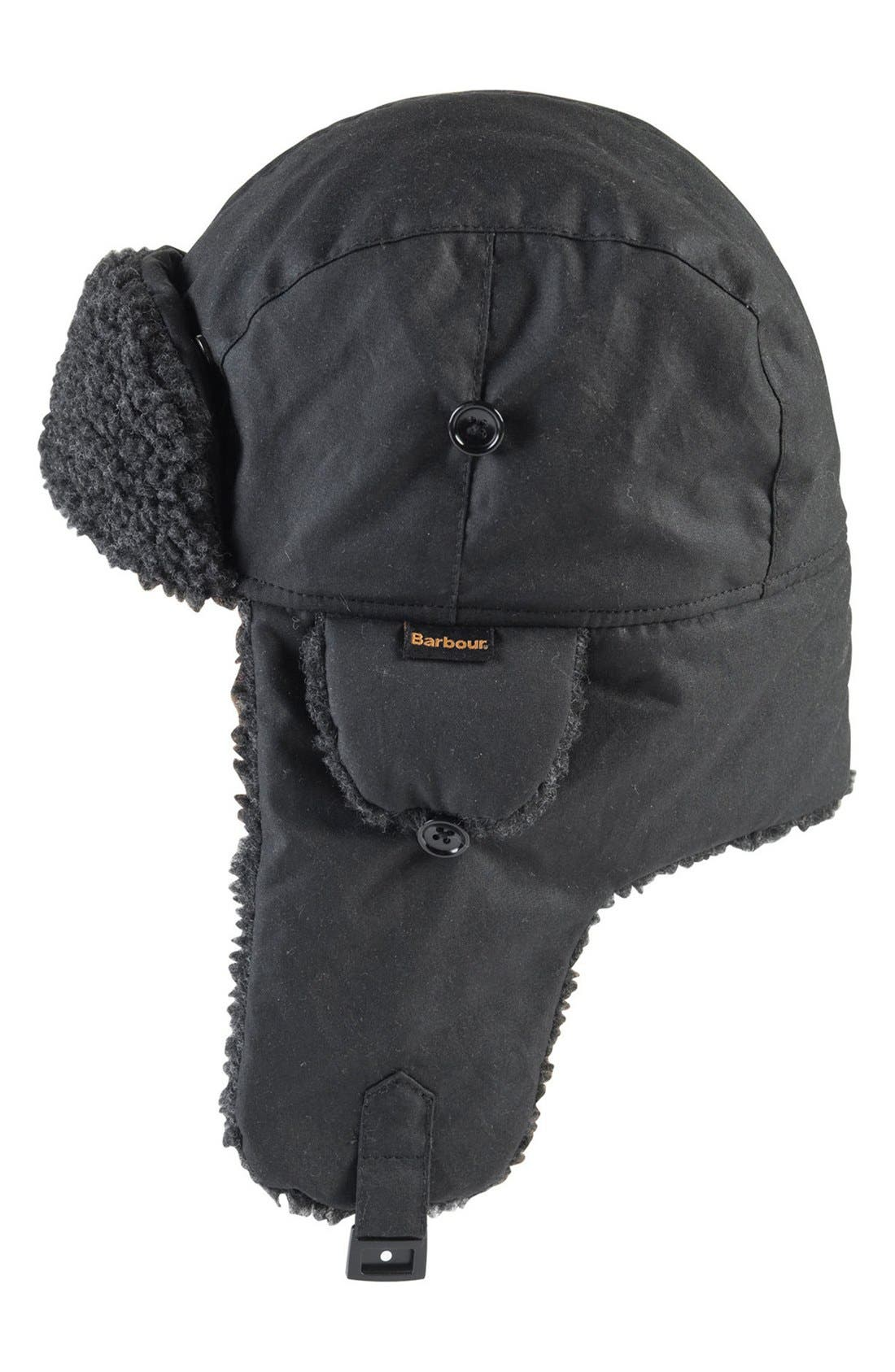 Fleece Lined Trapper Hat,                         Main,                         color, Black