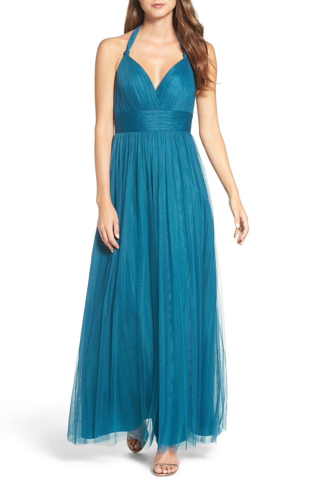 Deep V-Neck Chiffon & Tulle Gown,                         Main,                         color, Teal