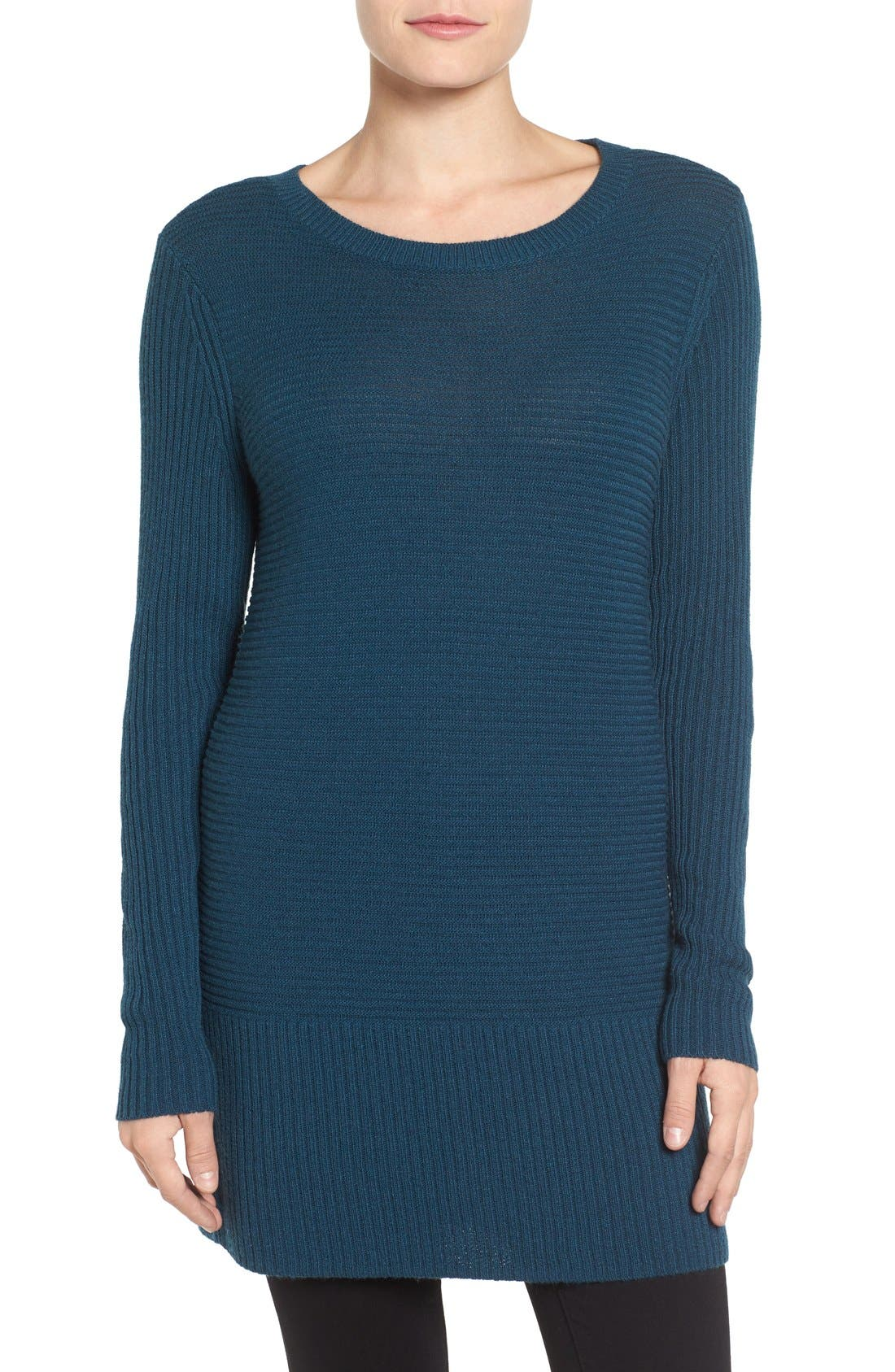 Alternate Image 1 Selected - Halogen® Rib Knit Tunic (Regular & Petite)