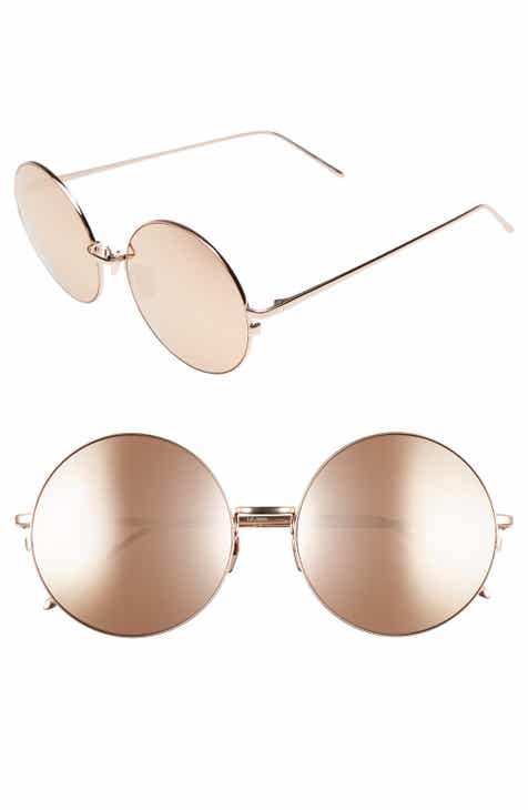 b3e43d1bc2ca Linda Farrow 58mm Mirrored Round 18 Karat Rose Gold Trim Sunglasses