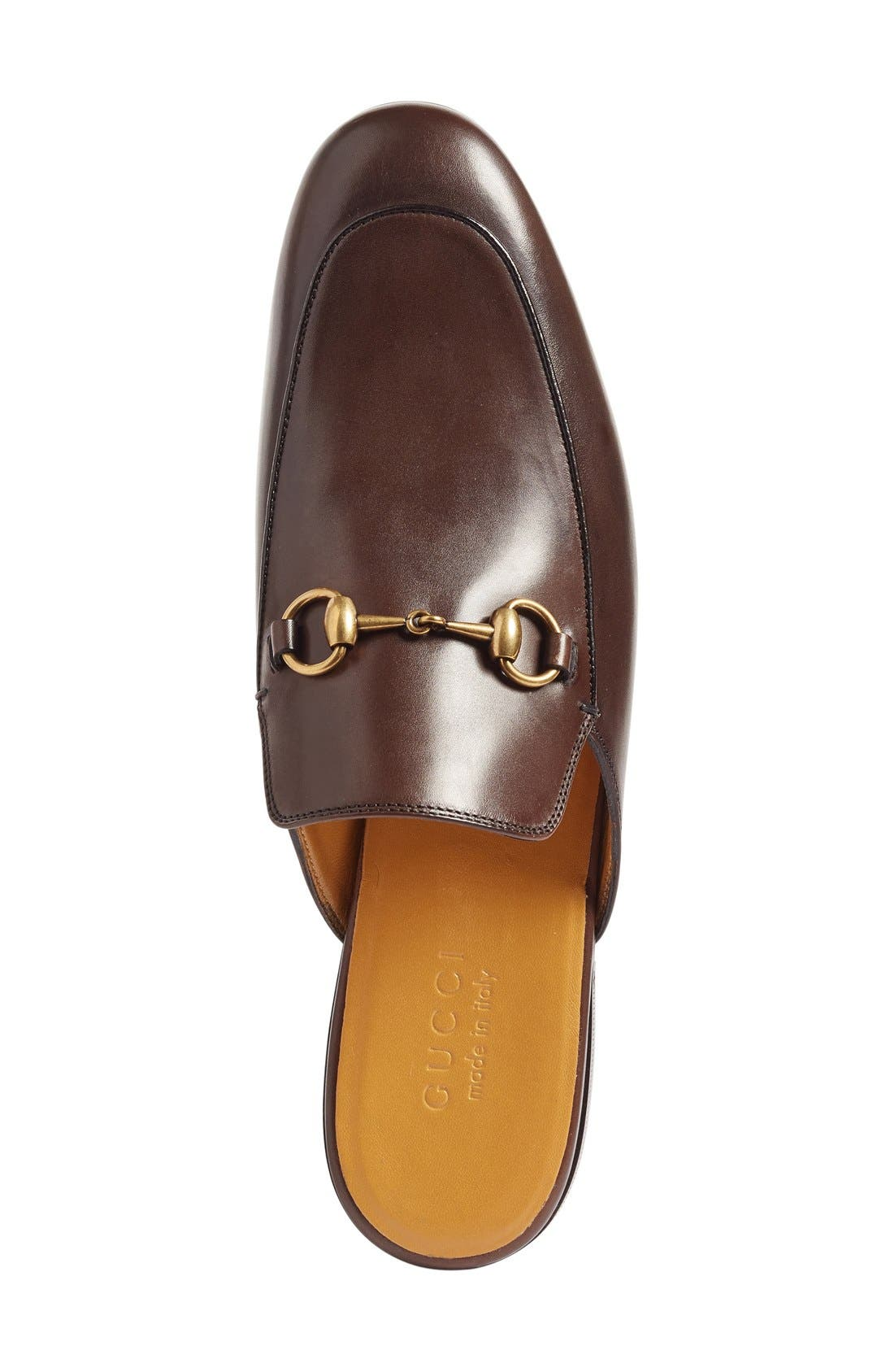 Straw Princetown Slipper,                             Alternate thumbnail 3, color,                             Brown Leather